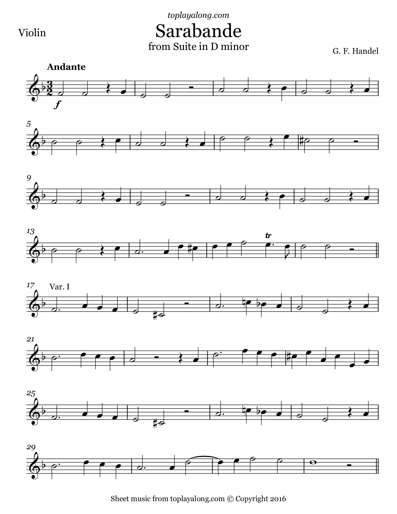 Sarabande from Suite in D minor by Handel. Sheet music for Violin, page 1.