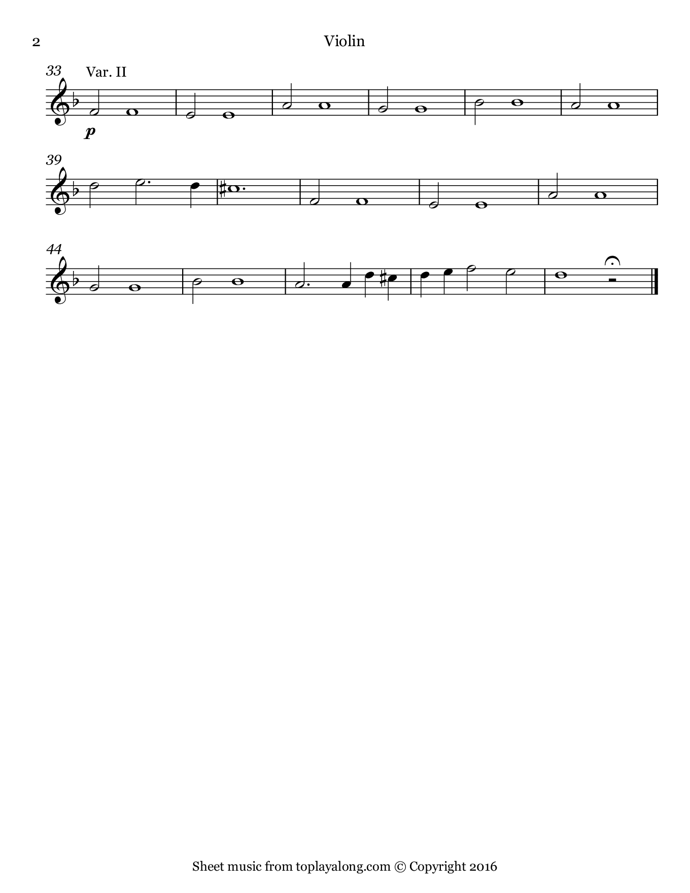 Sarabande from Suite in D minor by Handel. Sheet music for Violin, page 2.