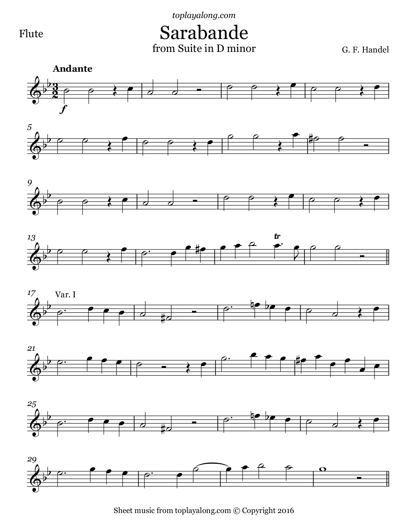 Sarabande from Suite in D minor by Handel. Sheet music for Flute, page 1.