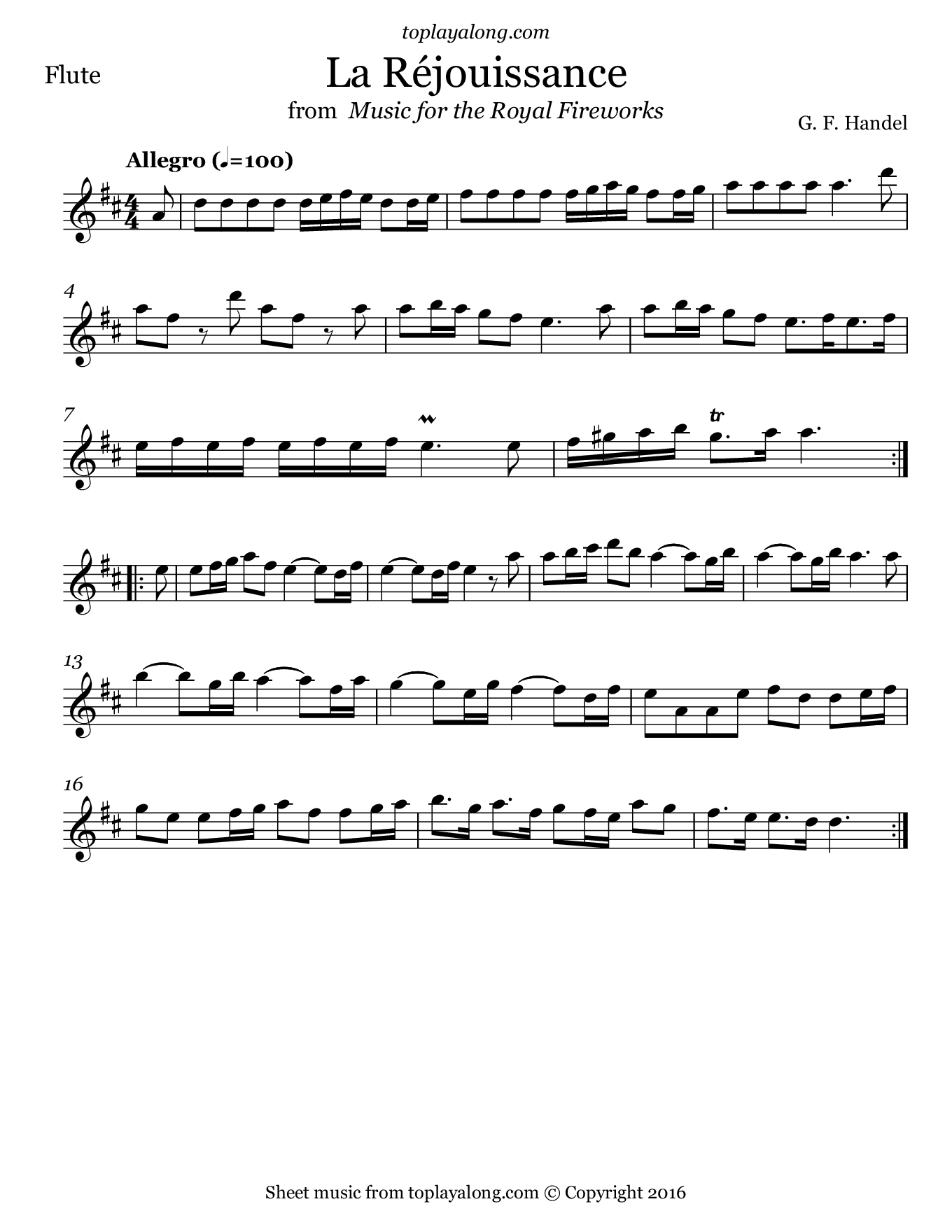 La Réjouissance from Royal Fireworks by Handel. Sheet music for Flute, page 1.