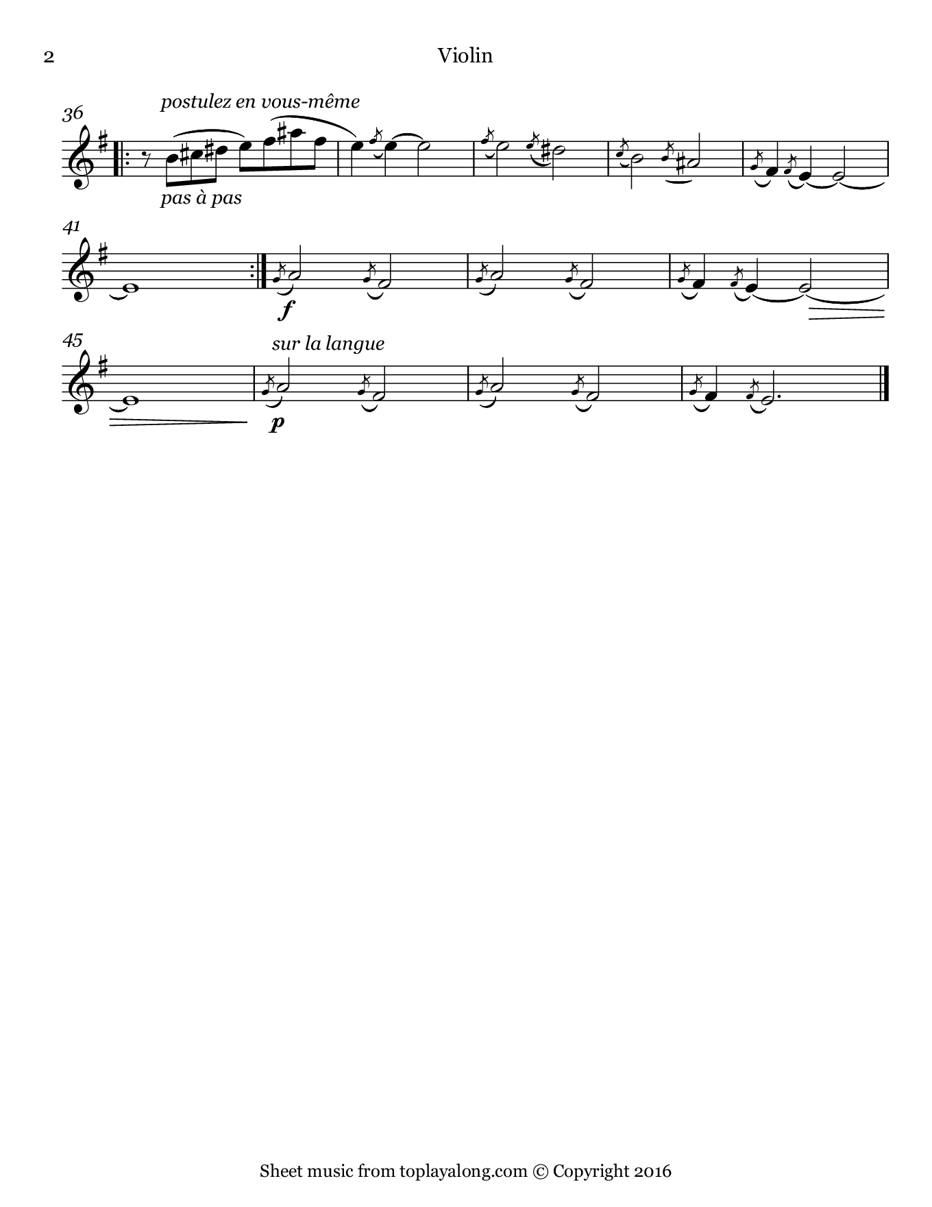 Gnossienne No. 1 by Satie. Sheet music for Violin, page 2.