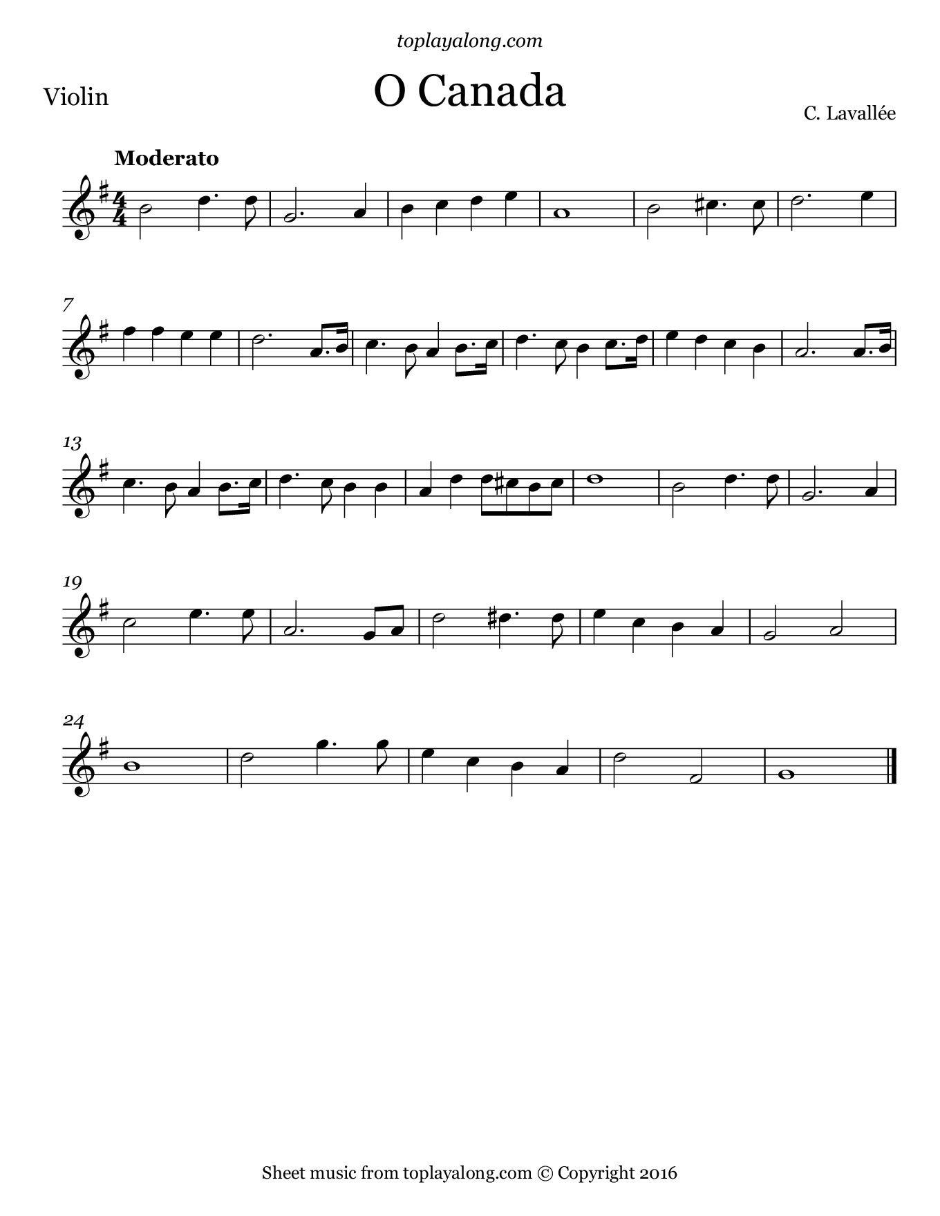 O Canada. Sheet music for Violin, page 1.