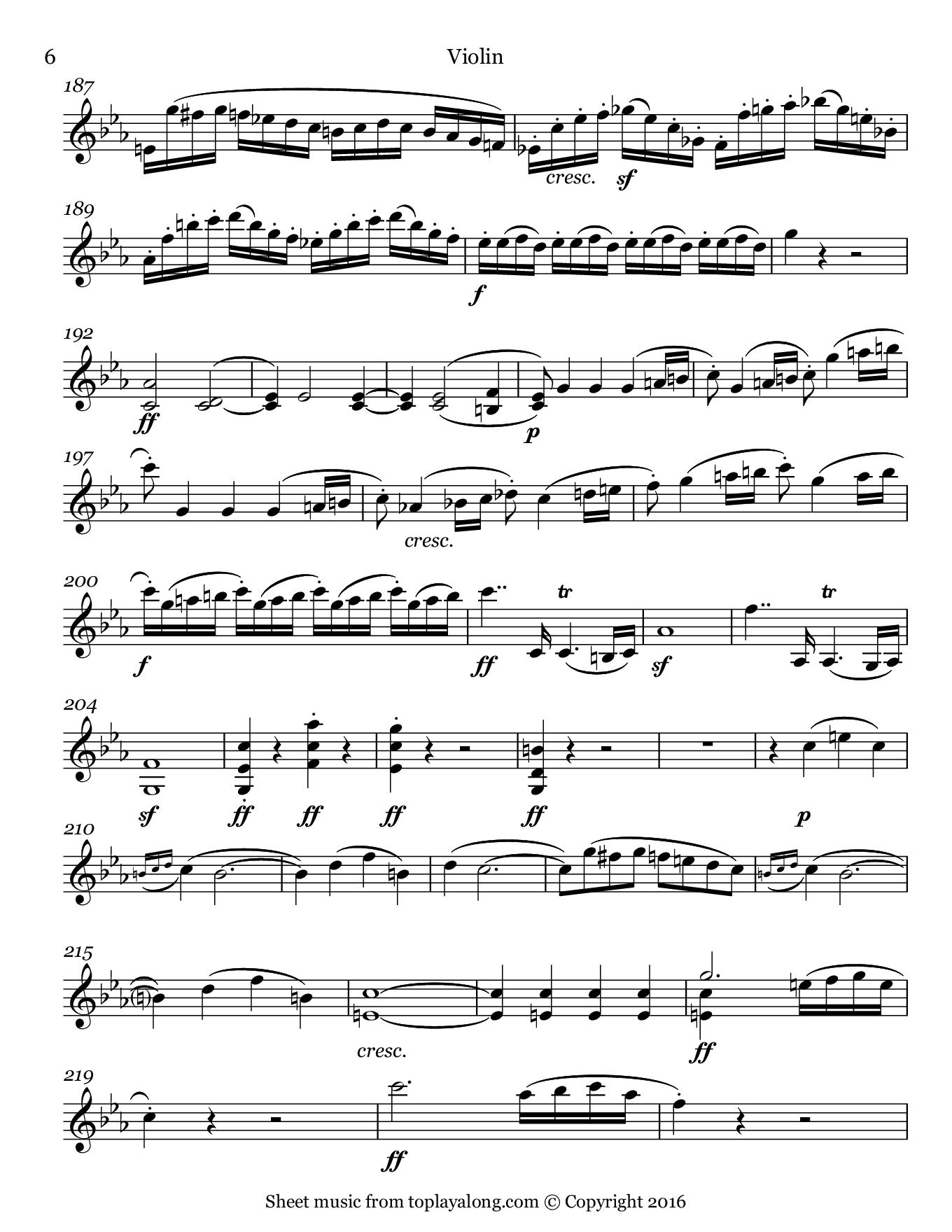 Violin Sonata No. 7 (I. Allegro) by Beethoven. Sheet music for Violin, page 6.