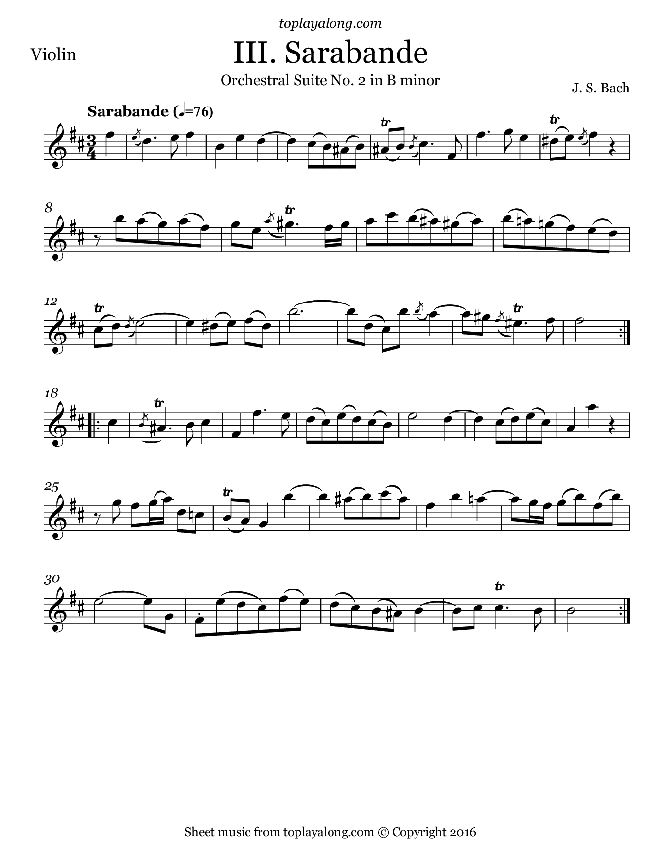 Orchestral Suite No. 2 (III. Sarabande) by J. S. Bach. Sheet music for Violin, page 1.