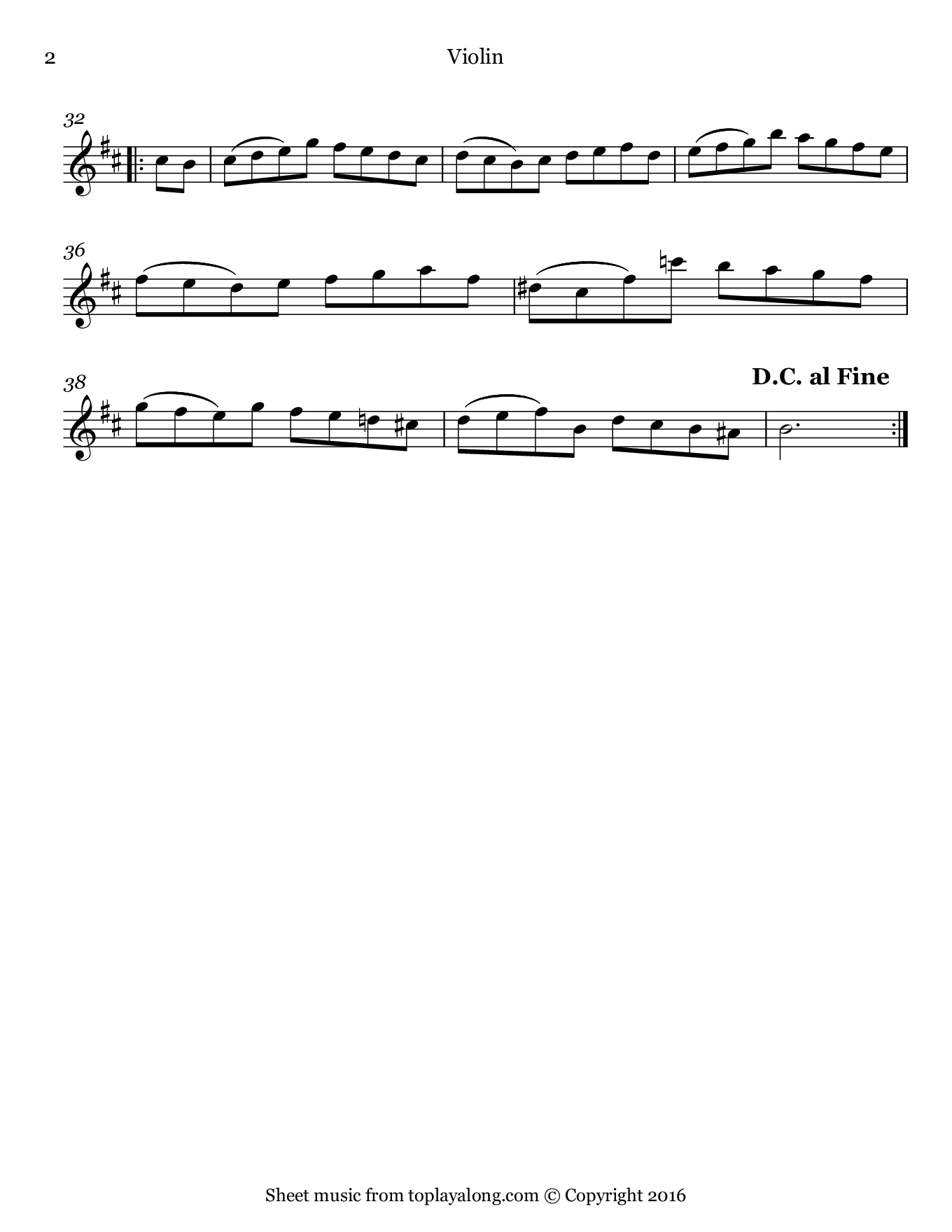 Orchestral Suite No. 2 (IV. Bourrée) by J. S. Bach. Sheet music for Violin, page 2.