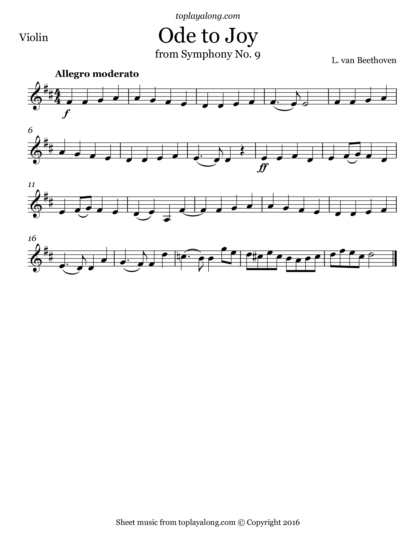Ode to Joy from Symphony No. 9 by Beethoven. Sheet music for Violin, page 1.