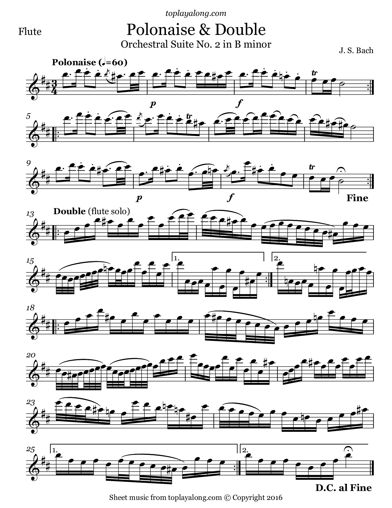 Orchestral Suite No. 2 (V. Polonaise & Double) by J. S. Bach. Sheet music for Flute, page 1.