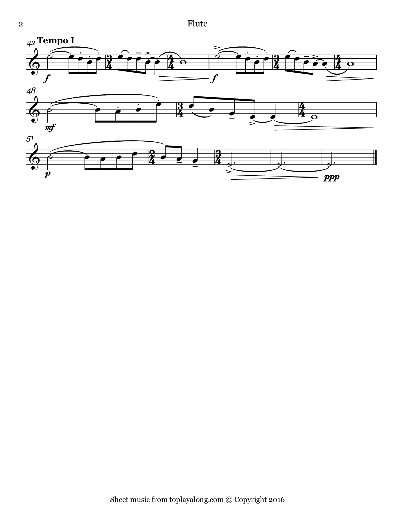 Evening in the Village by Bartok. Sheet music for Flute, page 2.