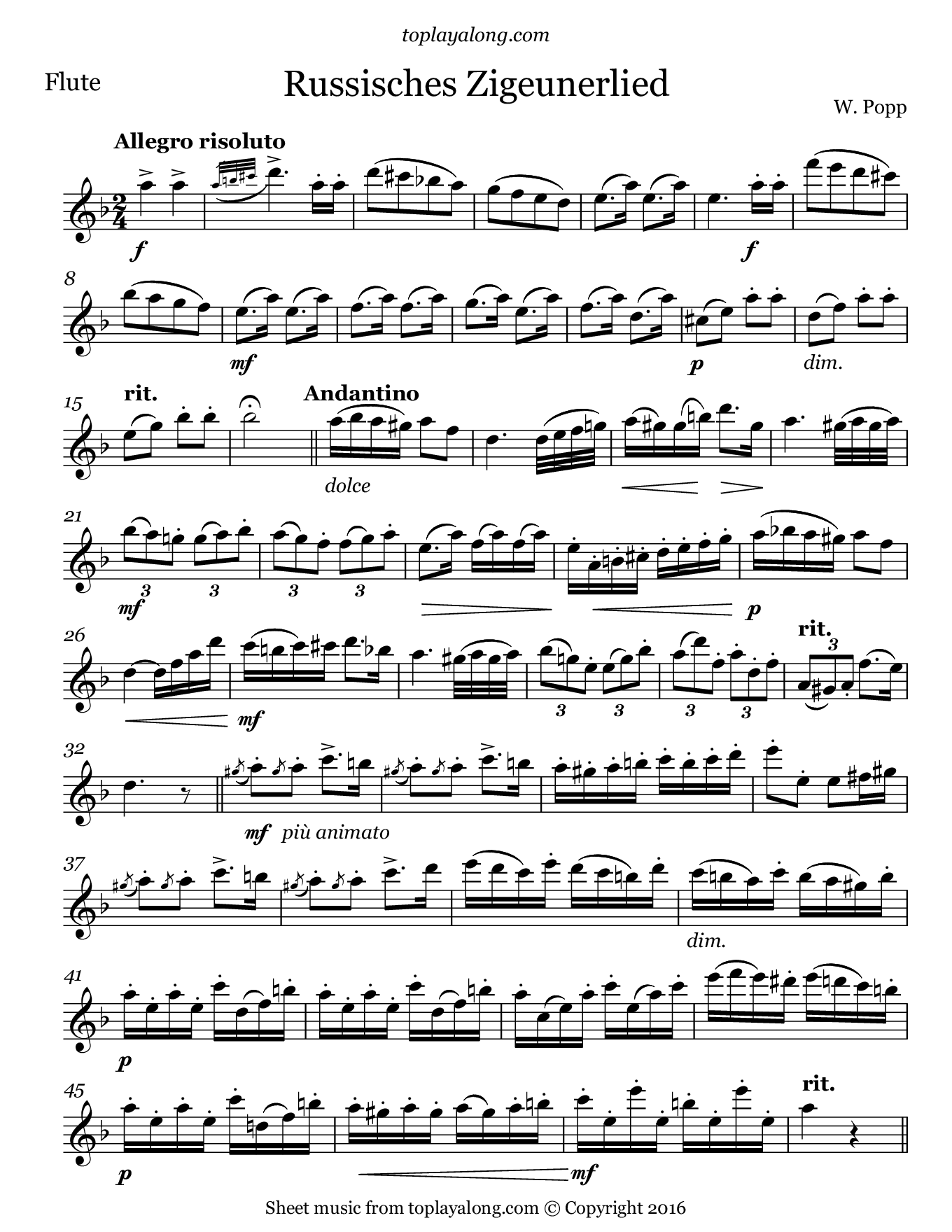 Russisches Zigeunerlied by Popp. Sheet music for Flute, page 1.