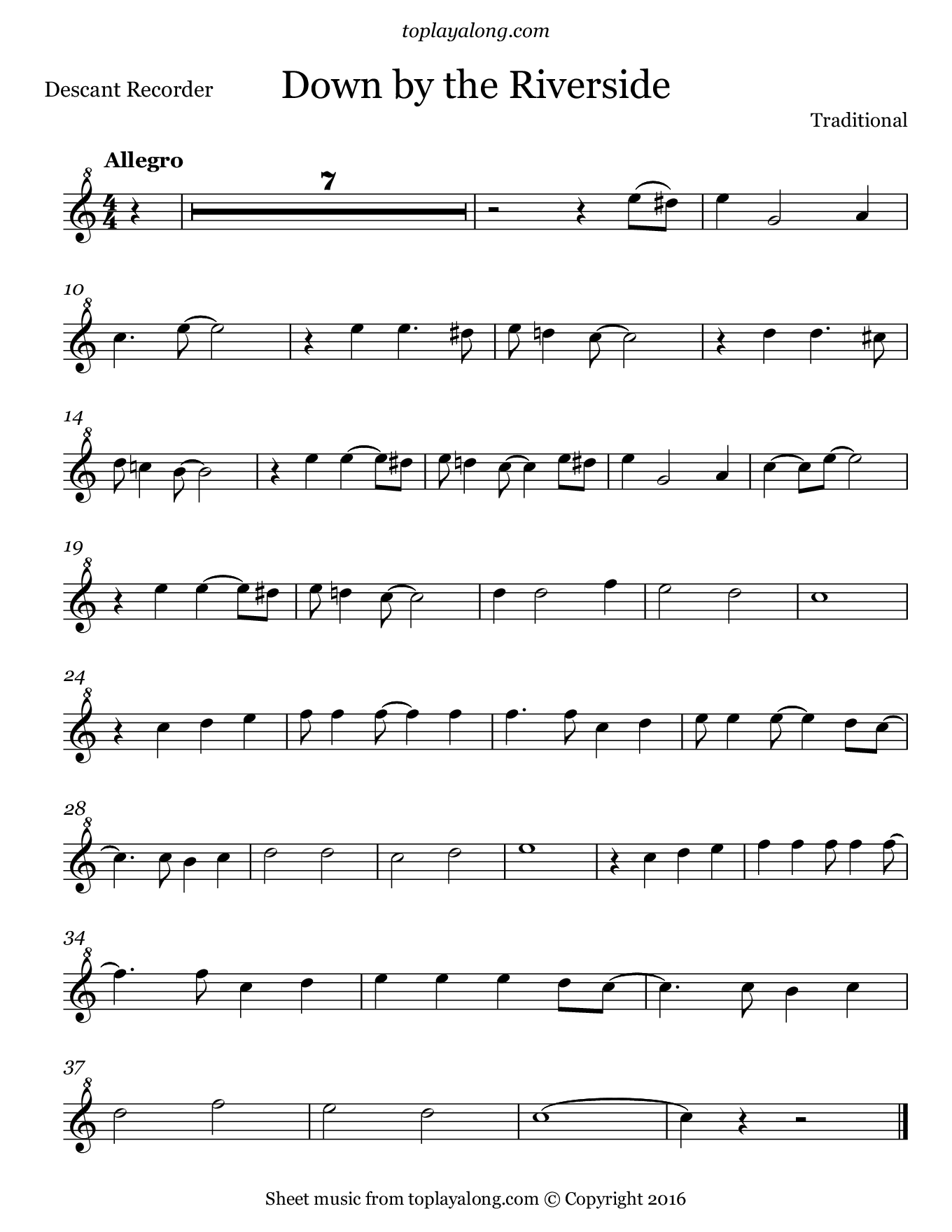 Down by the Riverside. Sheet music for Recorder, page 1.