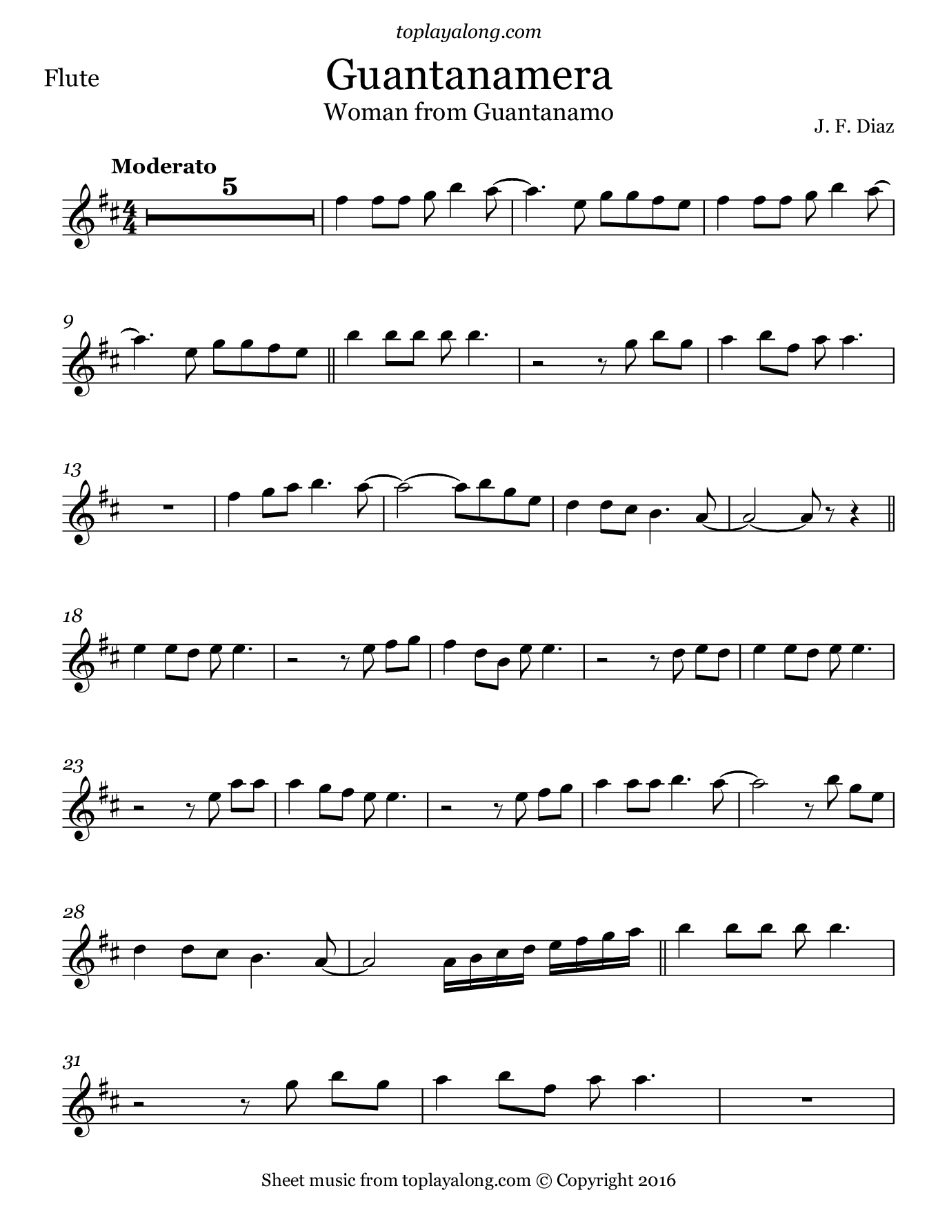 Guantanamera by Joseíto Fernández. Sheet music for Flute, page 1.