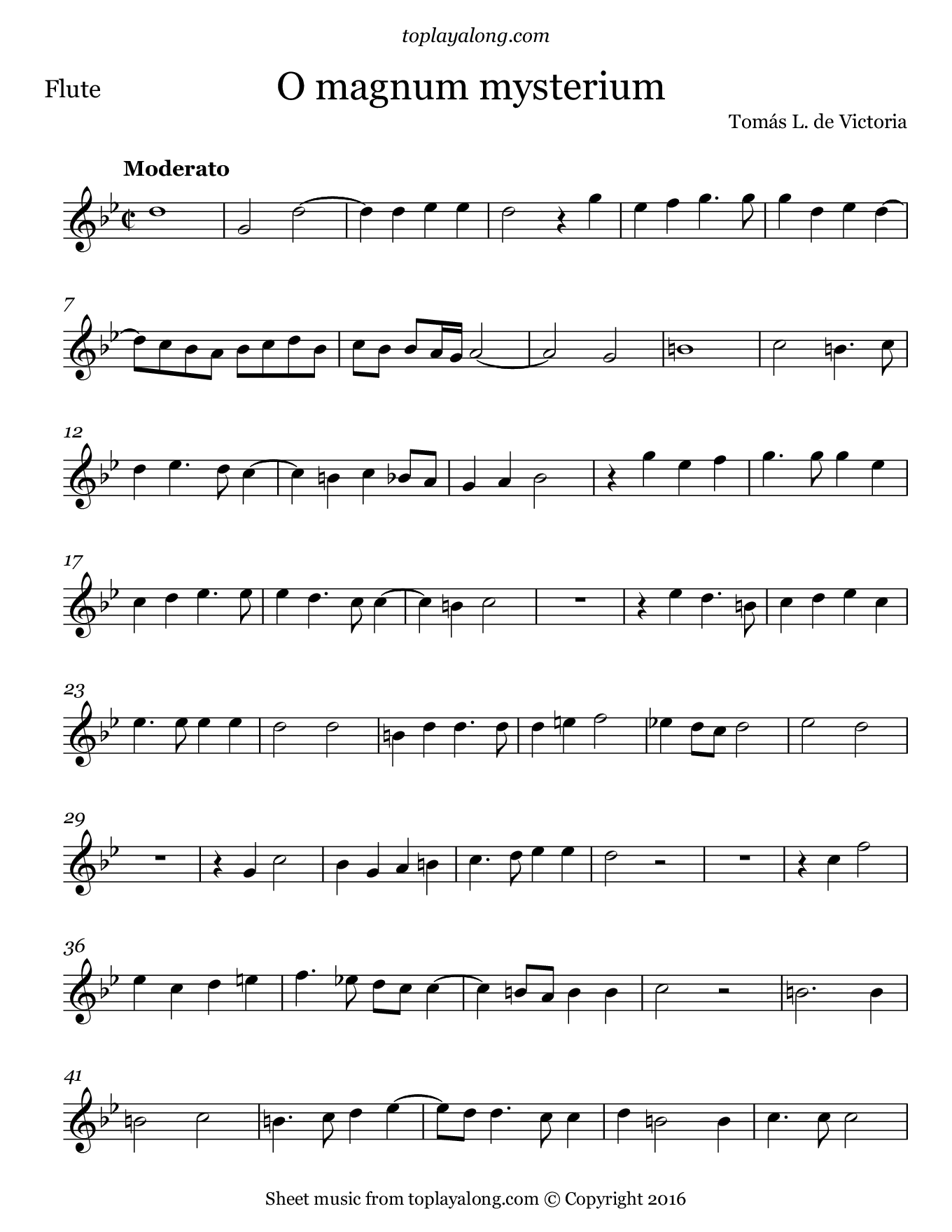 O magnum mysterium by Victoria. Sheet music for Flute, page 1.