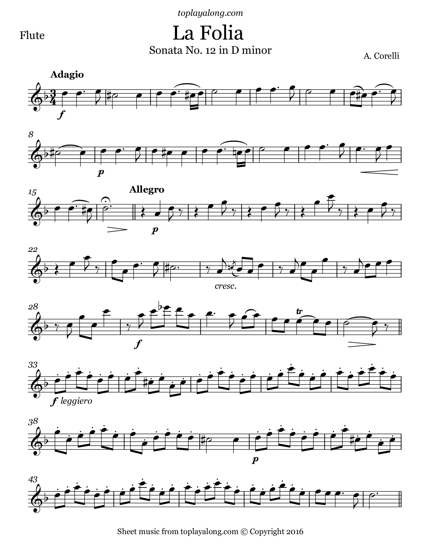 La Folia by Corelli. Sheet music for Flute, page 1.