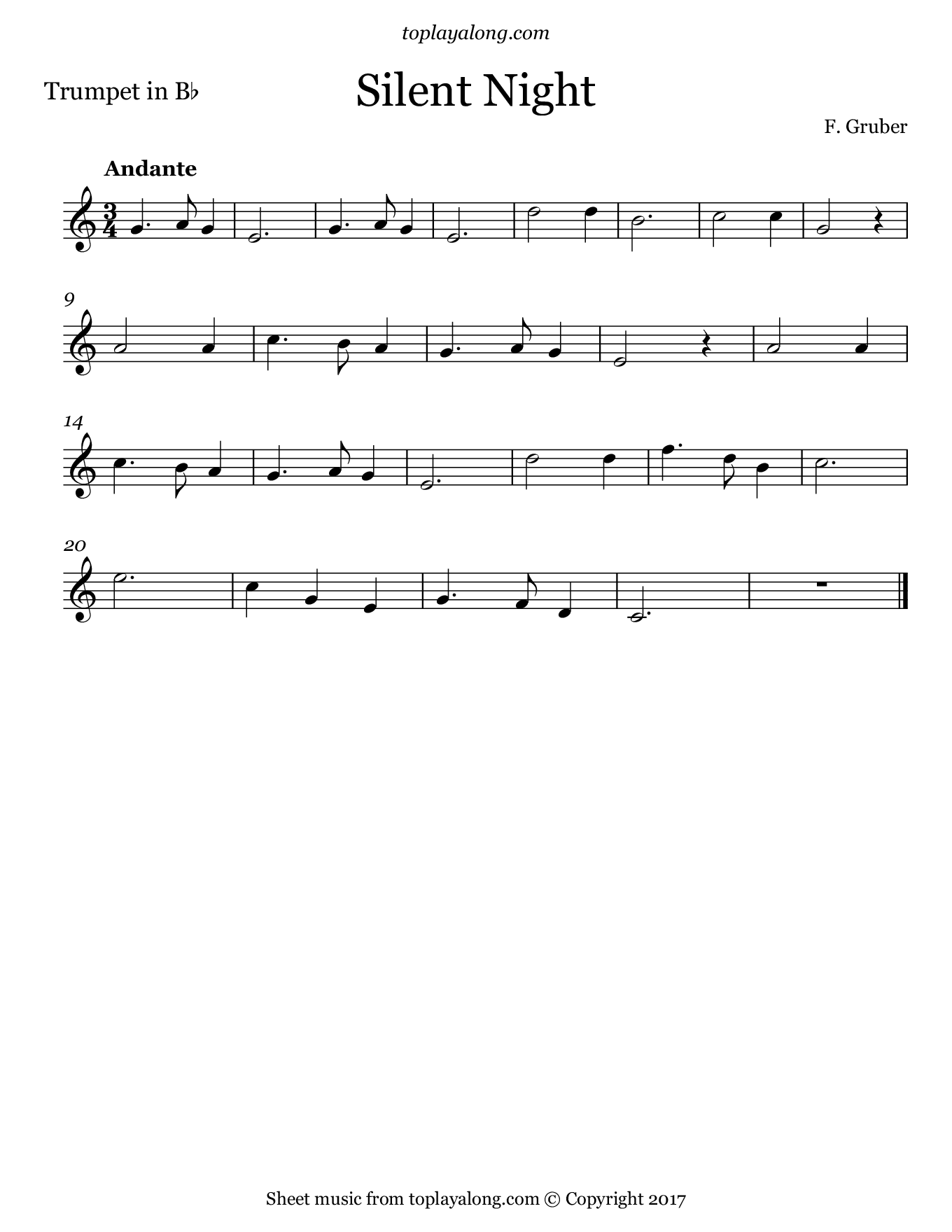 Silent Night by Gruber. Sheet music for Trumpet, page 1.