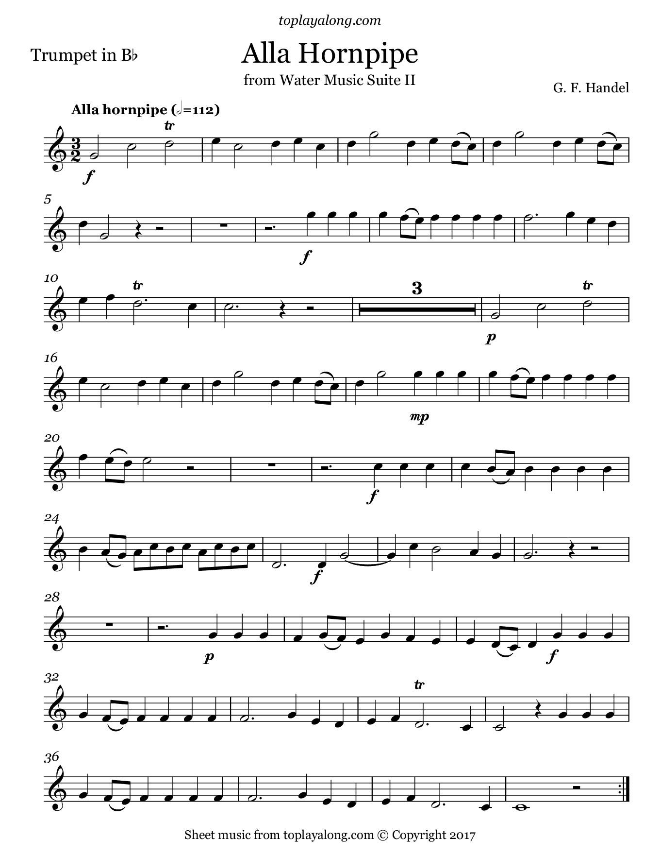 Alla Hornpipe from Water Music Suite II by Handel. Sheet music for Trumpet, page 1.