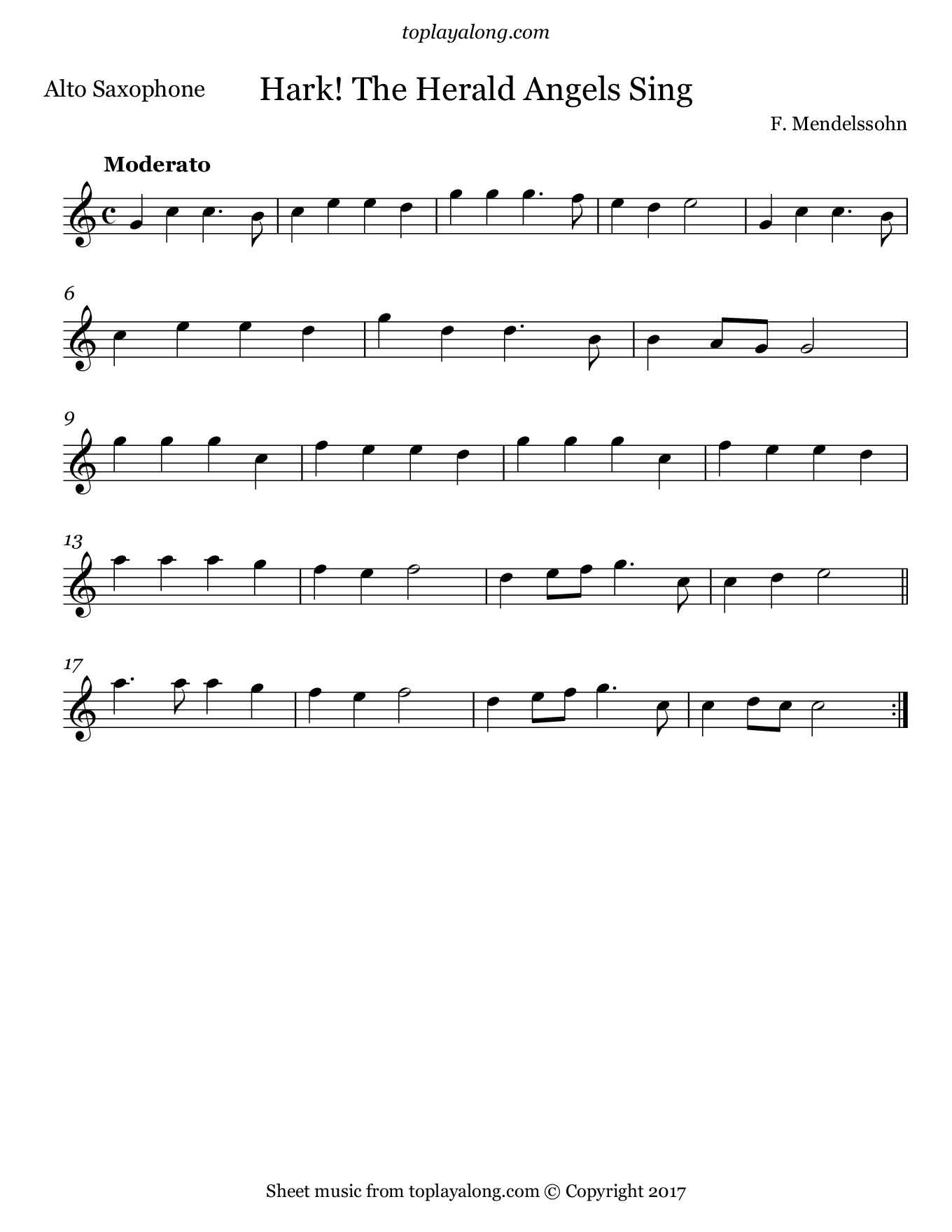Hark! The Herald Angels Sing by Mendelssohn. Sheet music for Alto Sax, page 1.