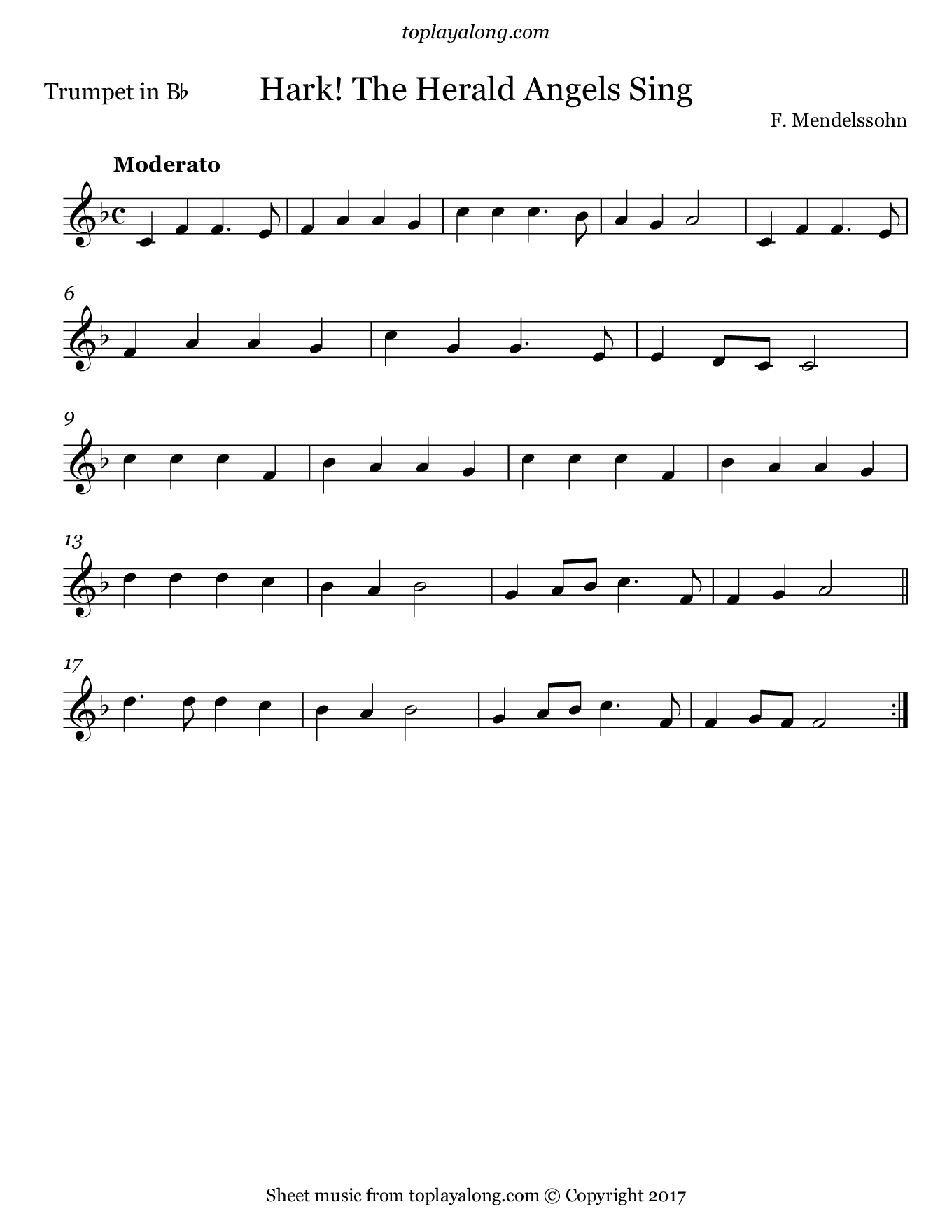 Hark! The Herald Angels Sing by Mendelssohn. Sheet music for Trumpet, page 1.
