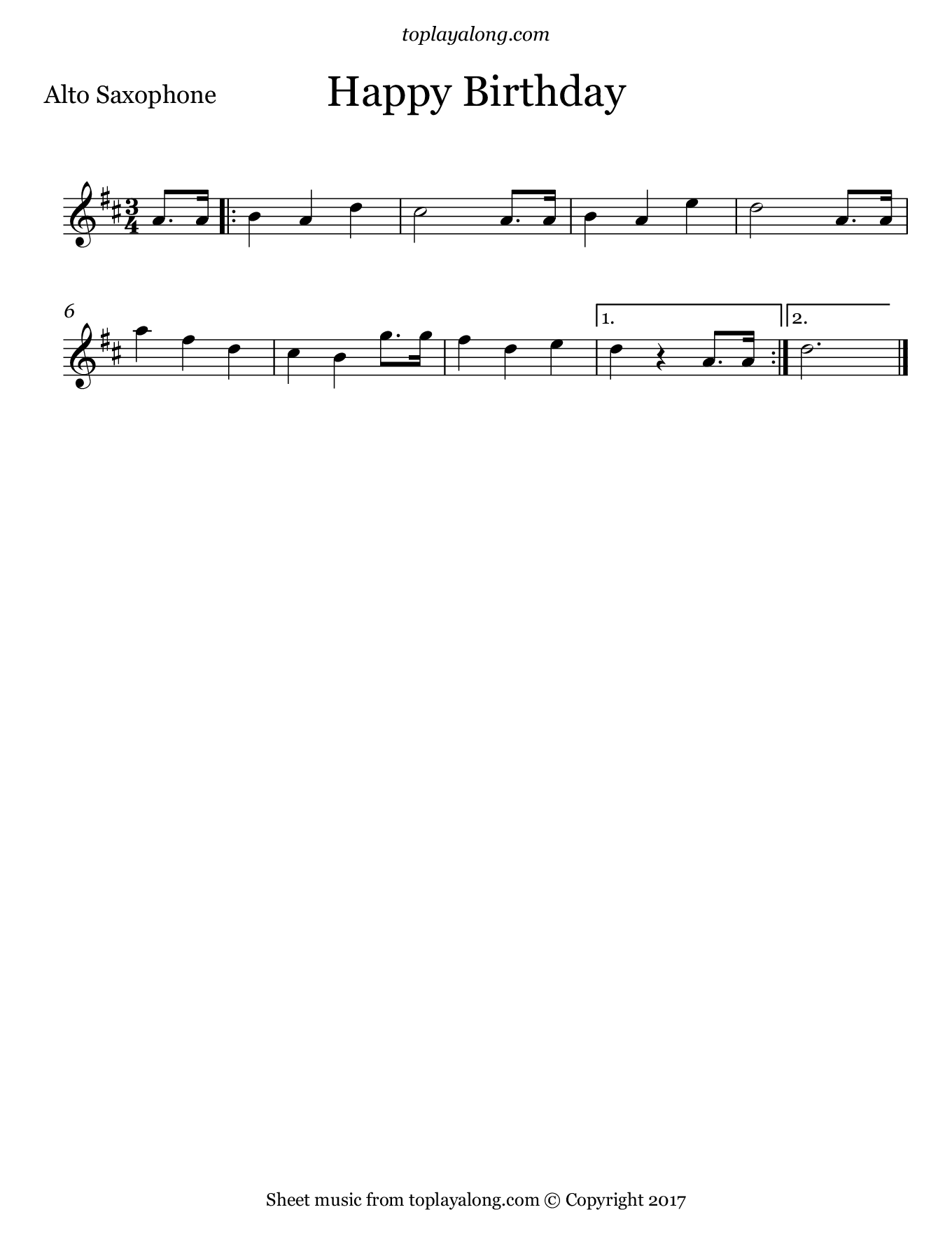 Happy Birthday. Sheet music for Alto Sax, page 1.