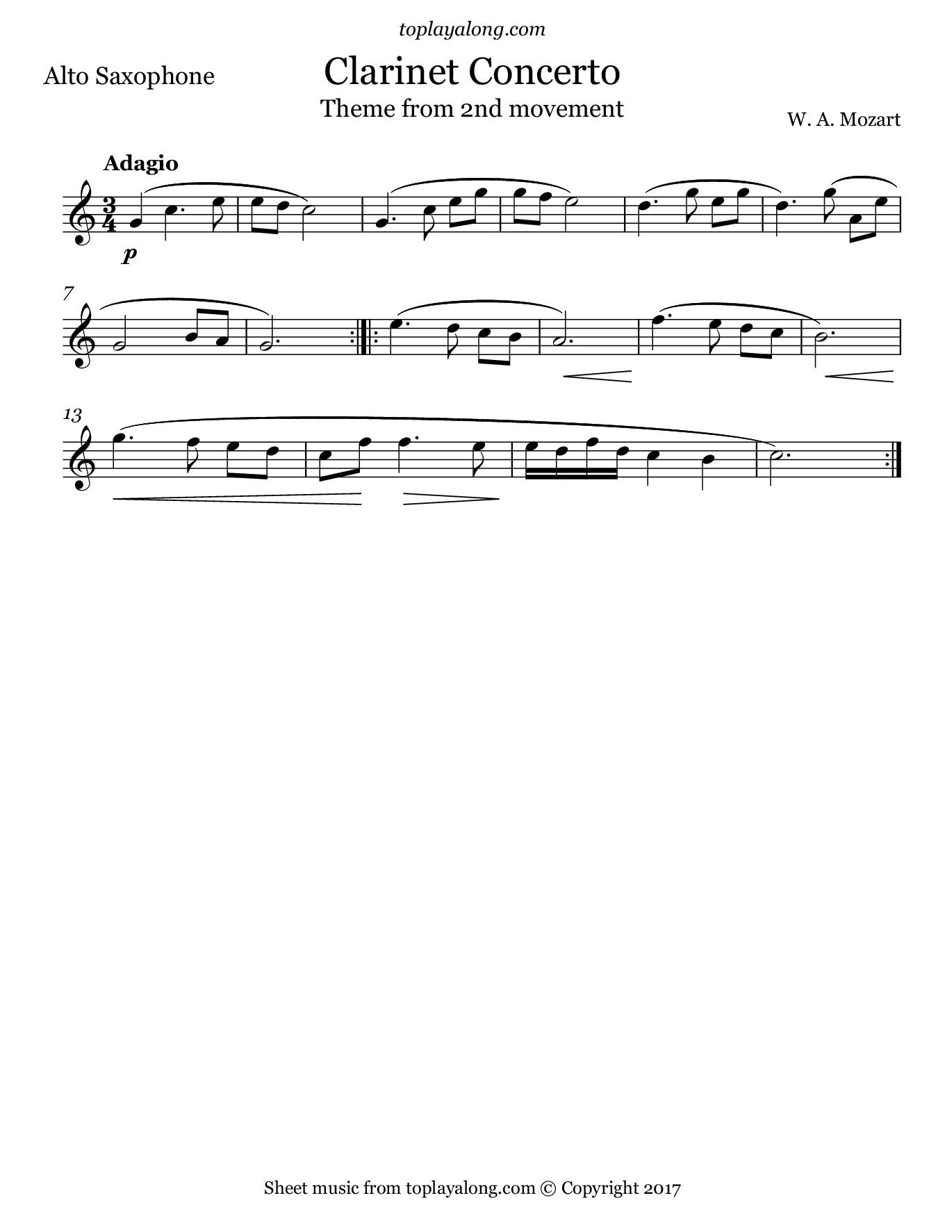 Clarinet Concerto 2nd mvt. (Theme) by Mozart. Sheet music for Alto Sax, page 1.