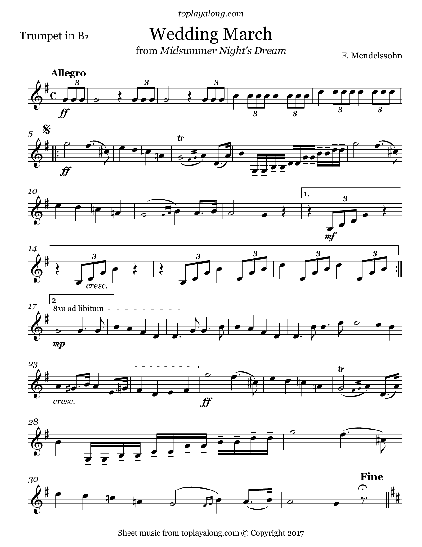 Wedding March from Midsummer Night's Dream by Mendelssohn. Sheet music for Trumpet, page 1.