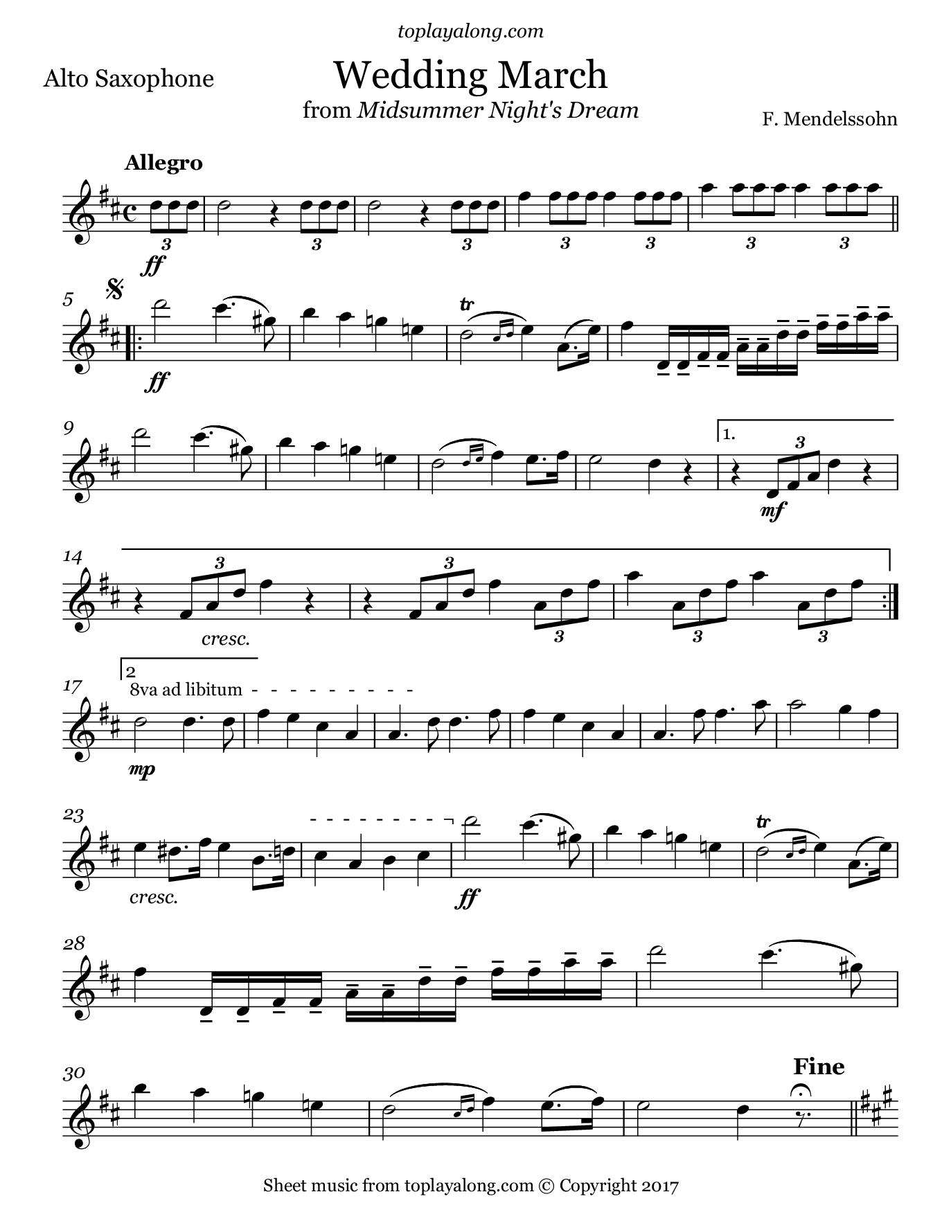 Wedding March from Midsummer Night's Dream by Mendelssohn. Sheet music for Alto Sax, page 1.