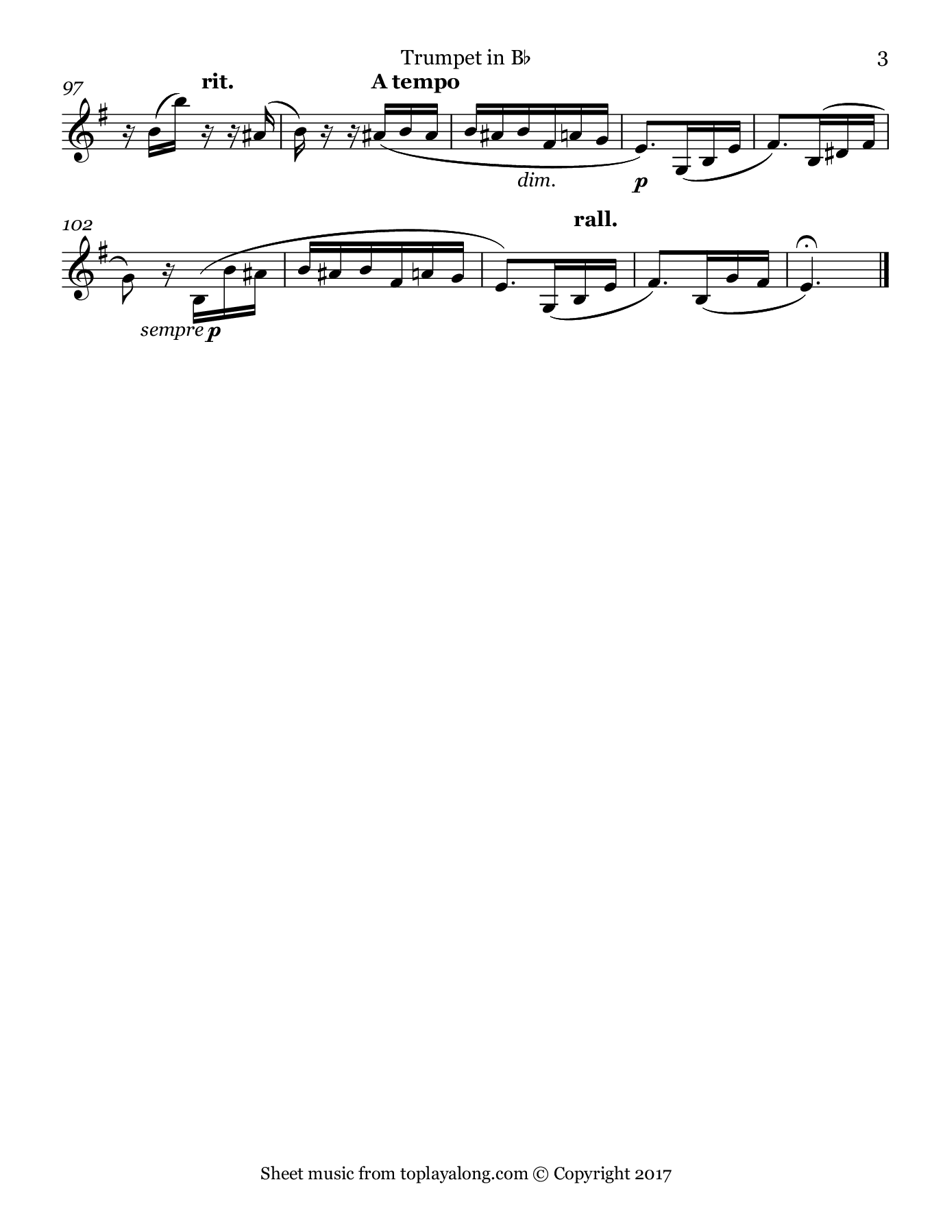 Für Elise by Beethoven. Sheet music for Trumpet, page 3.