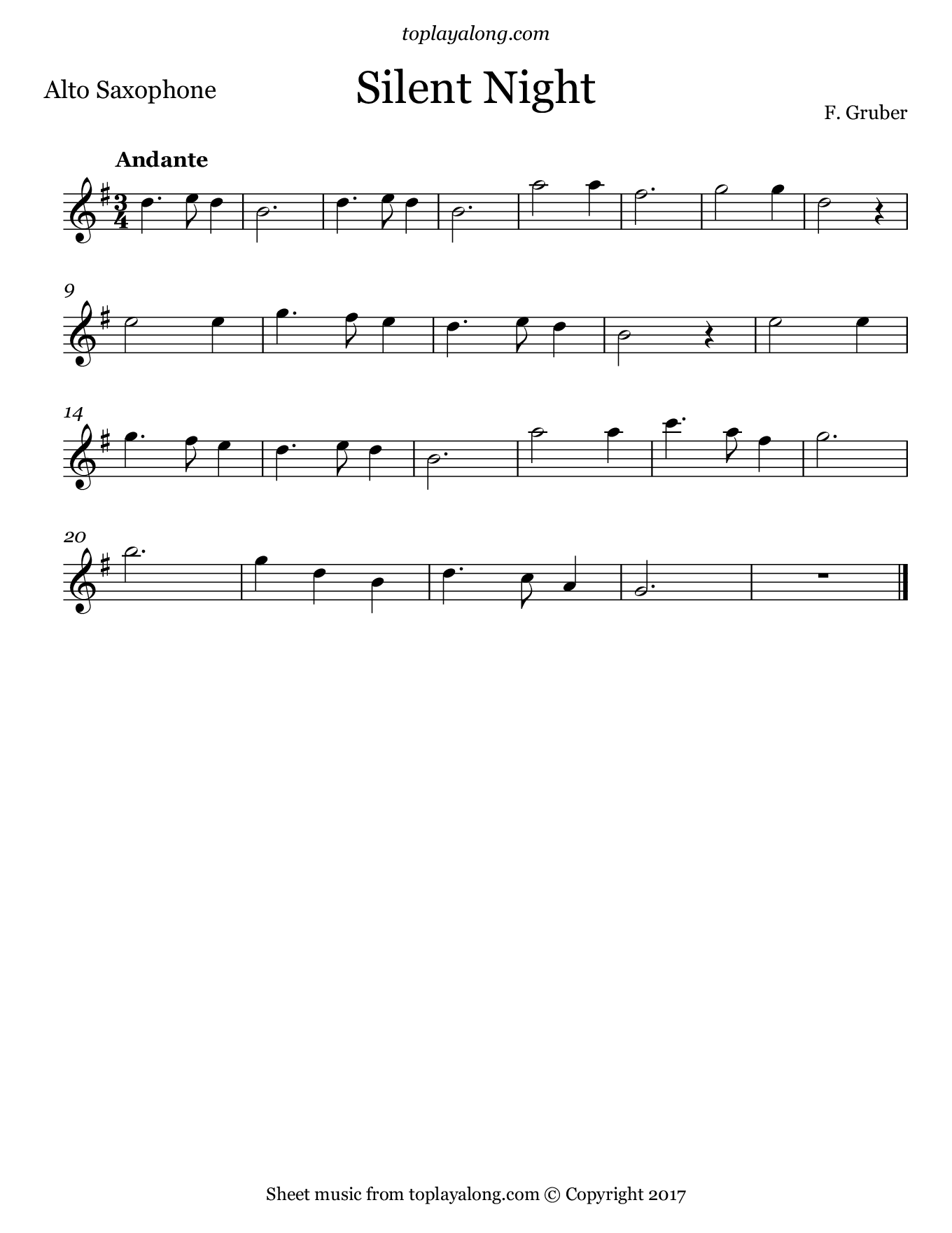 Silent Night by Gruber. Sheet music for Alto Sax, page 1.