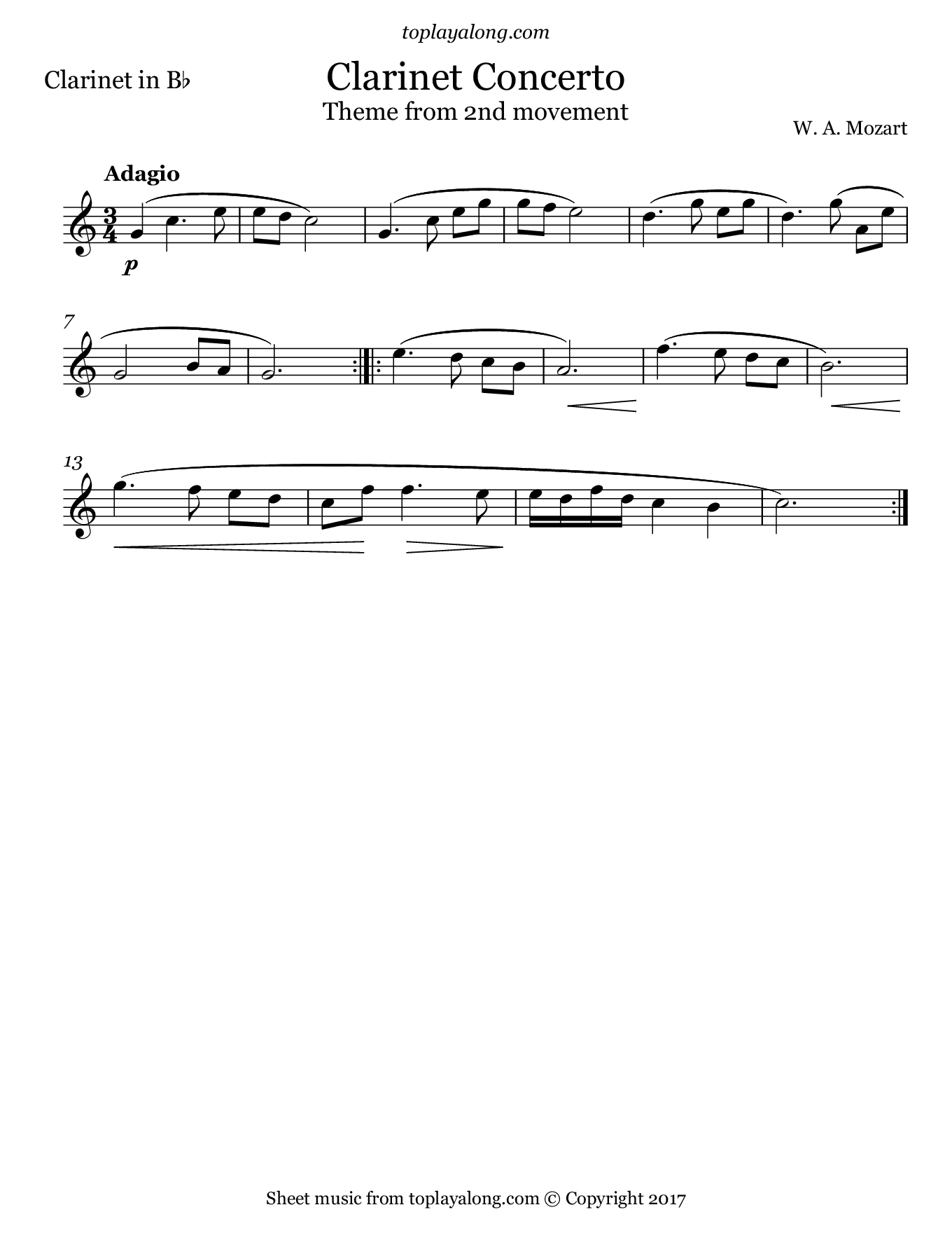 Clarinet Concerto 2nd mvt. (Theme) by Mozart. Sheet music for Clarinet, page 1.
