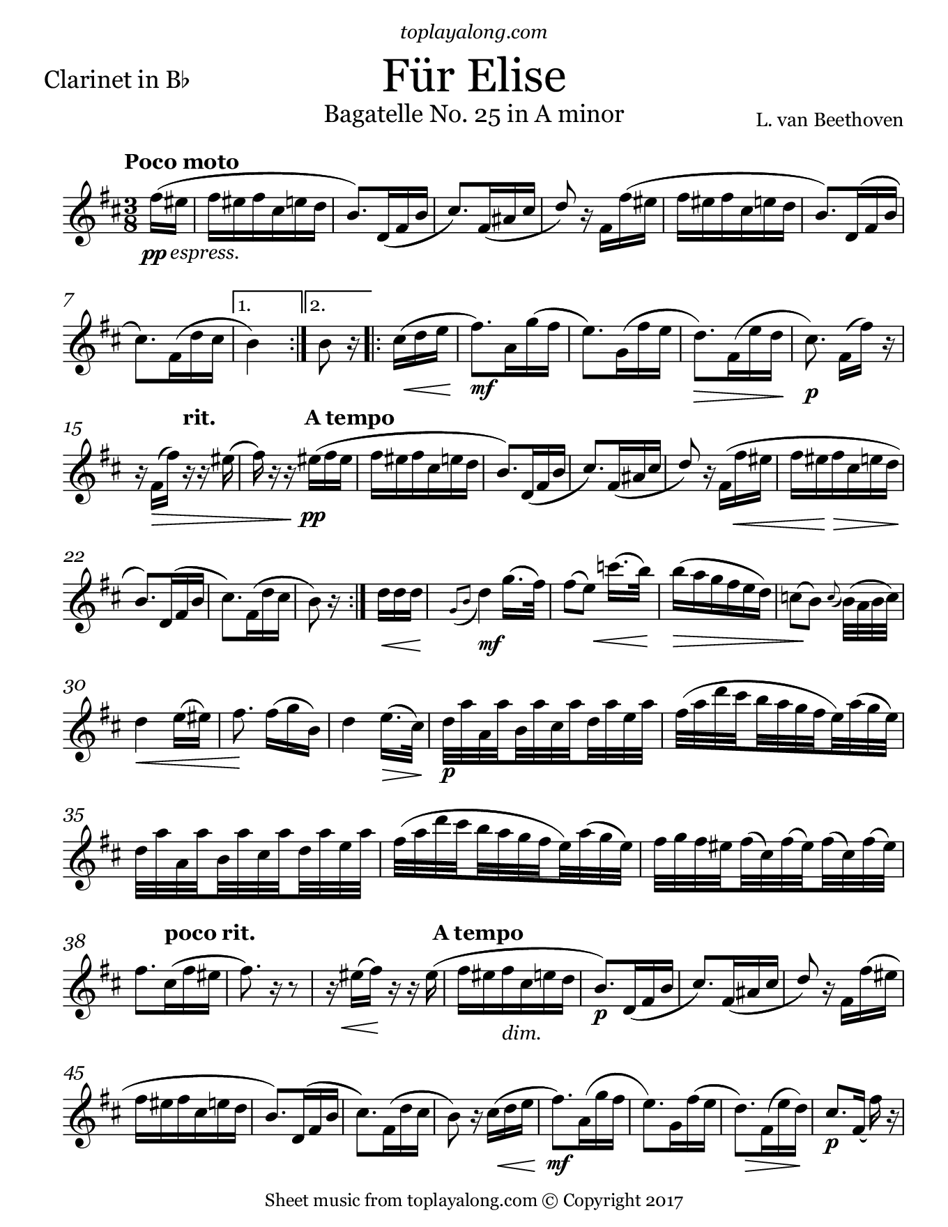Beethoven - Für Elise by Beethoven. Sheet music for Clarinet, page 1.