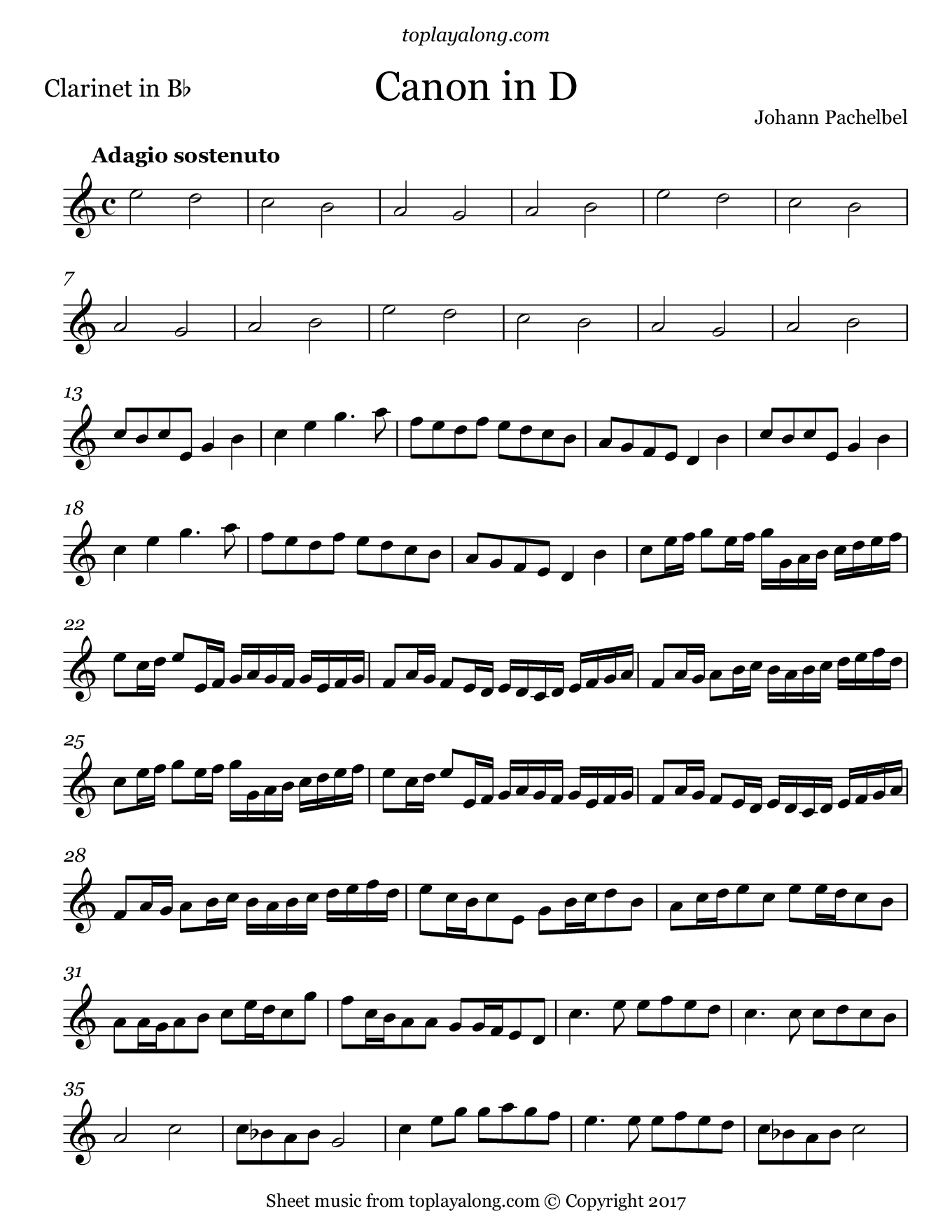 Canon in D by Pachelbel. Sheet music for Clarinet, page 1.