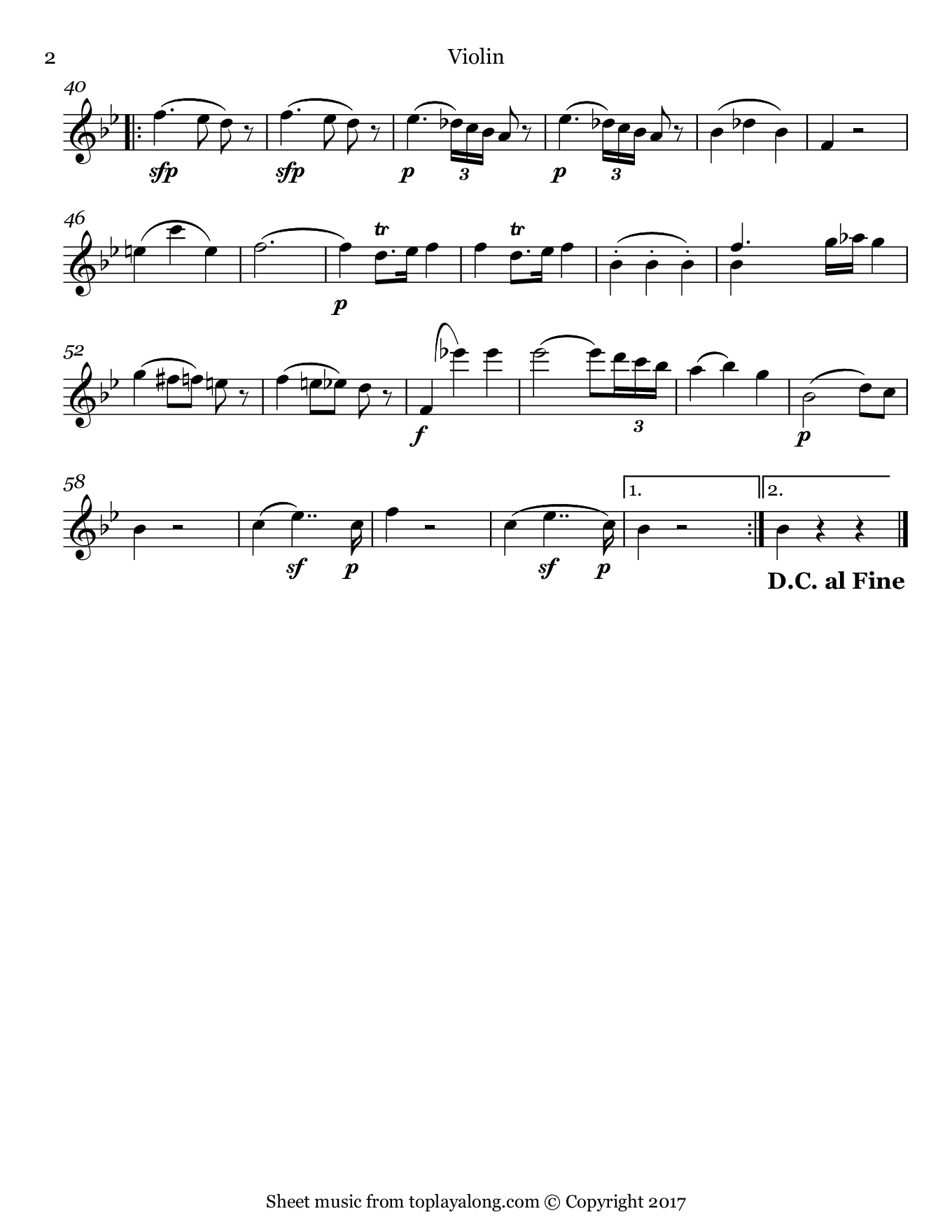 String Quartet No. 17 (II. Menuetto & Trio) by Mozart. Sheet music for Violin, page 2.