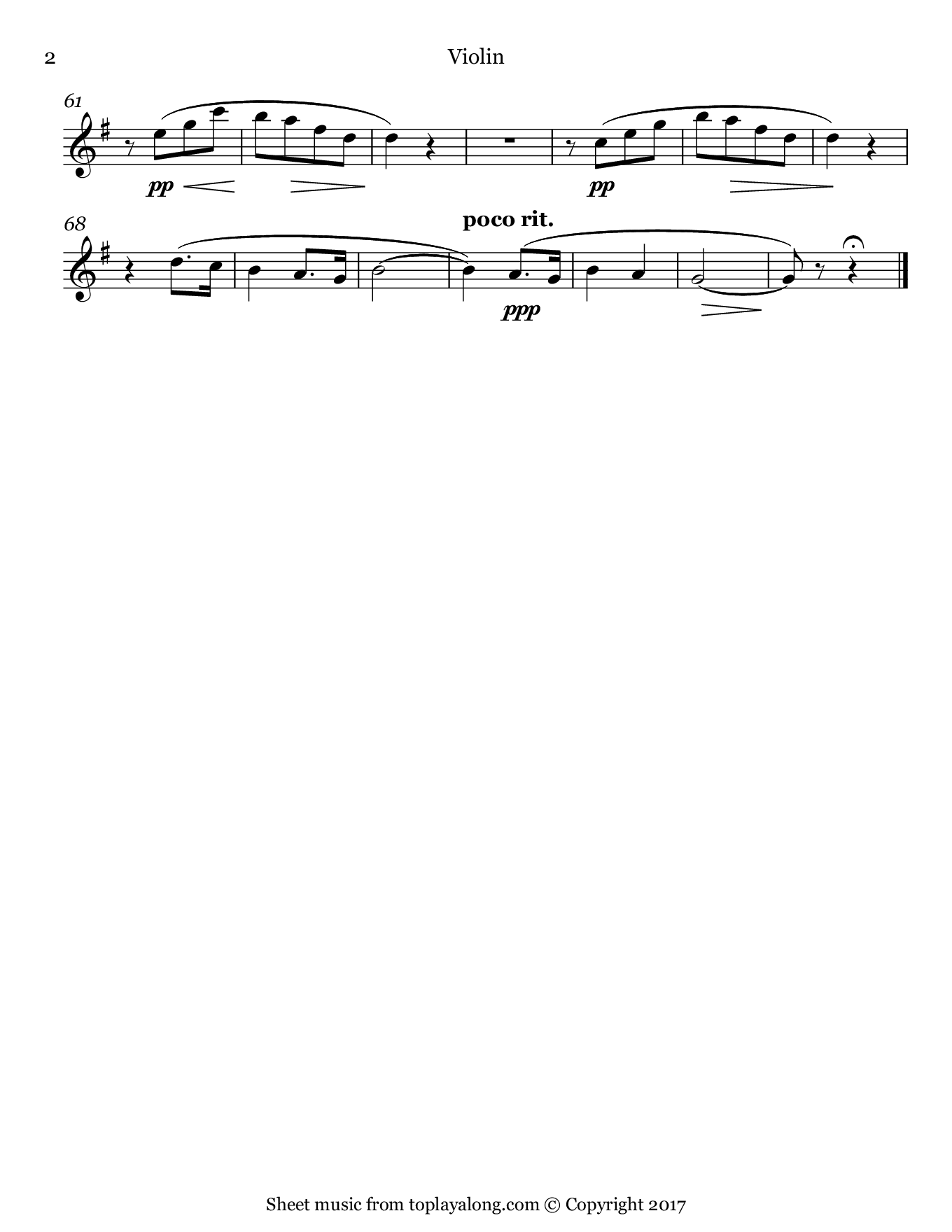 Romance sans paroles No. 3 by Fauré. Sheet music for Violin, page 2.