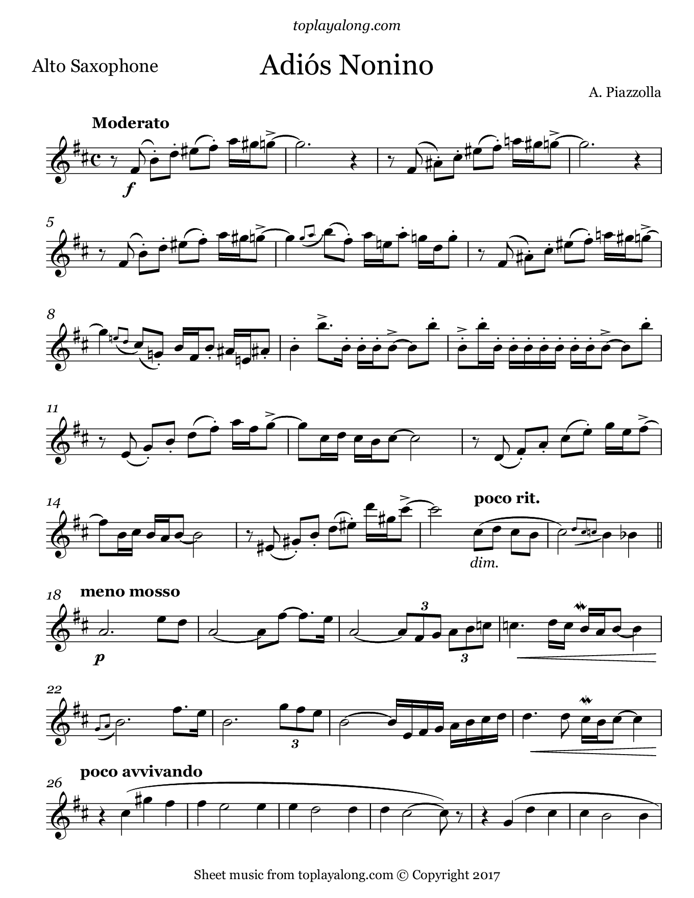 Adiós Nonino by Piazzolla. Sheet music for Alto Sax, page 1.