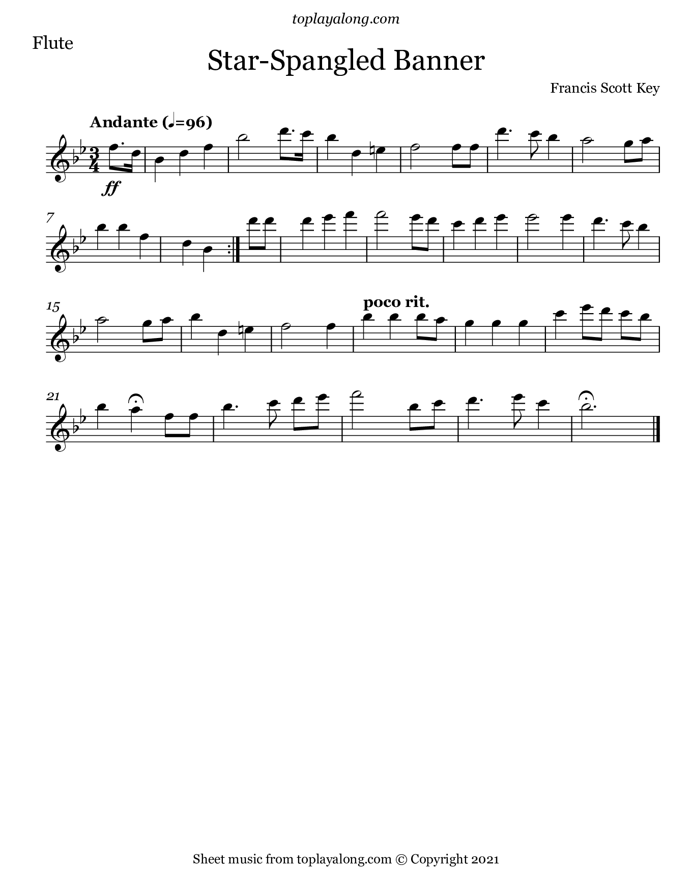 Star-Spangled Banner. Sheet music for Flute, page 1.