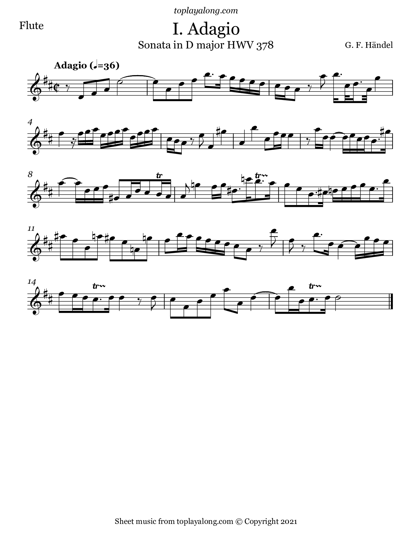 Flute Sonata in D major (I. Adagio) by Handel. Sheet music for Flute, page 1.