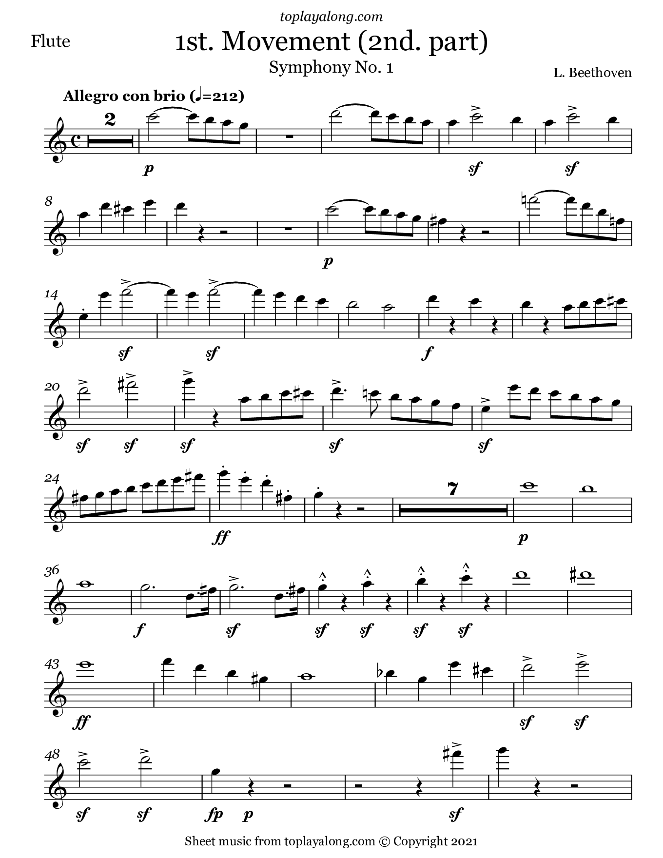 Symphony No.1 (1st. Movement - Part 2) by Beethoven. Sheet music for Flute, page 1.