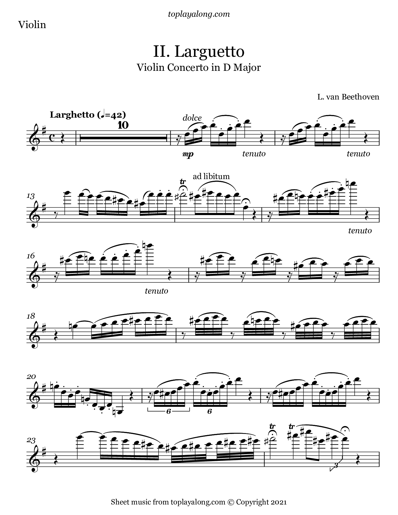 Violin Concerto in D Major (II. Larguetto) by Beethoven. Sheet music for Violin, page 1.