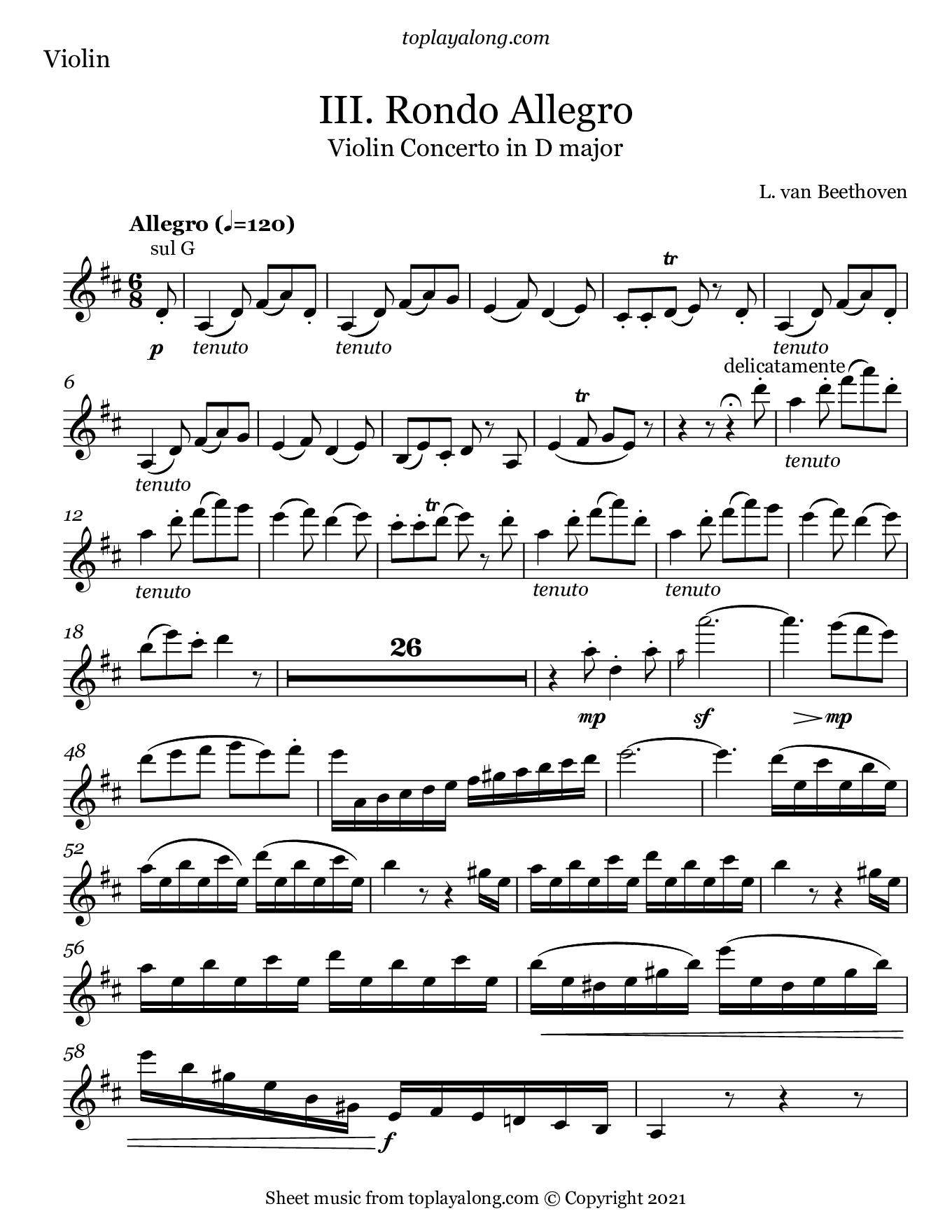 Violin Concerto in D Major (III. Allegro Rondo) by Beethoven. Sheet music for Violin, page 1.