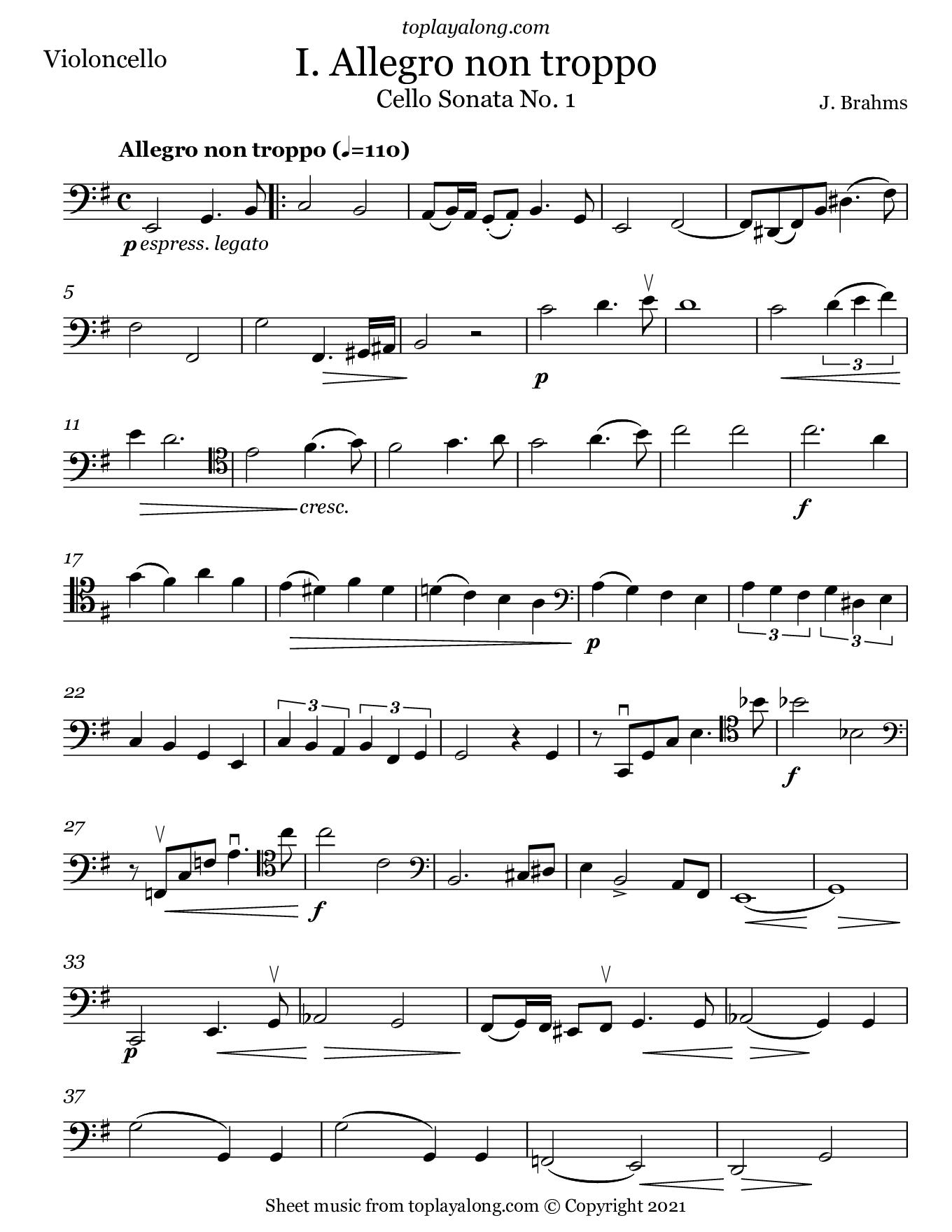 Cello Sonata No. 1 (I. Allegro) by Brahms. Sheet music for Cello, page 1.