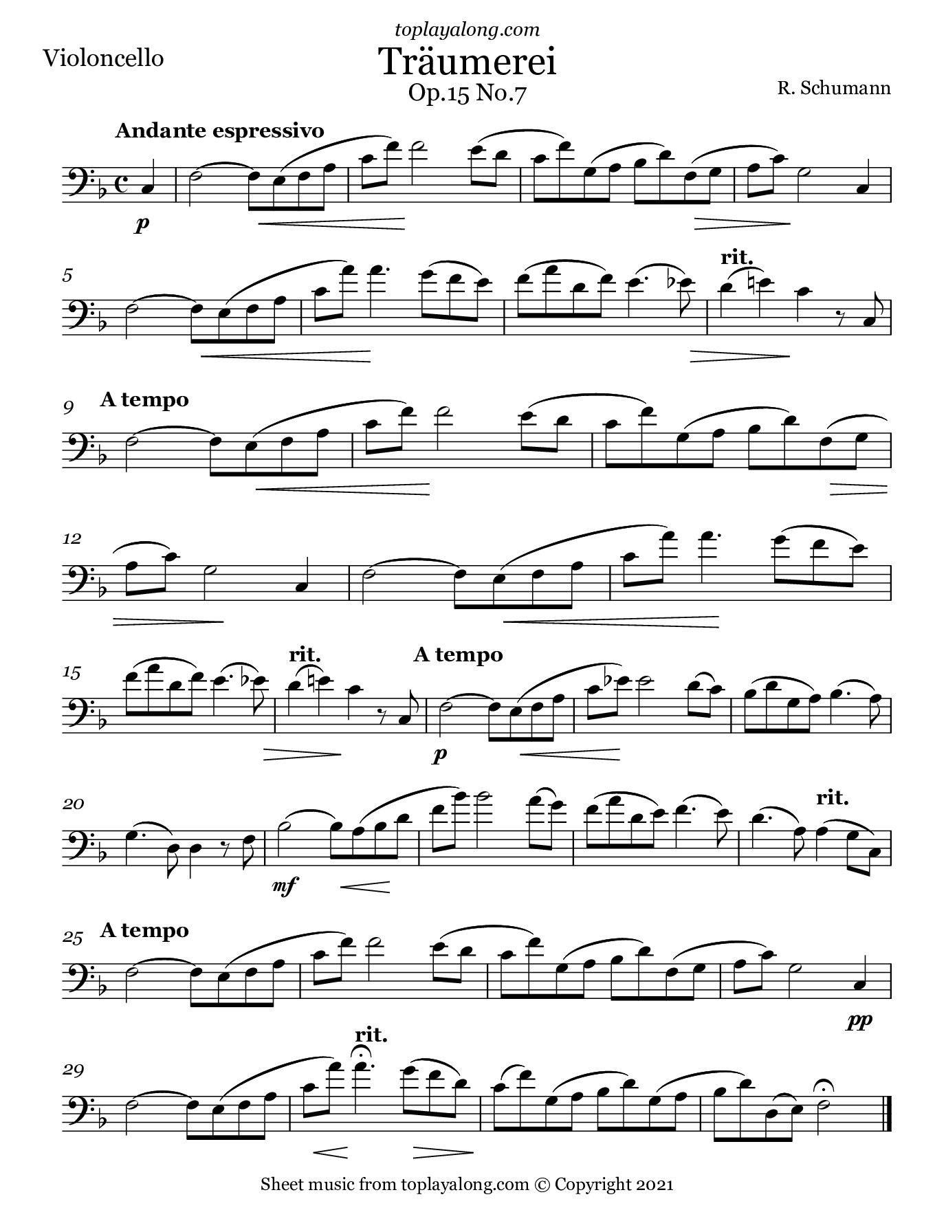 Traumerei Op. 15 No. 7 by Schumann. Sheet music for Cello, page 1.