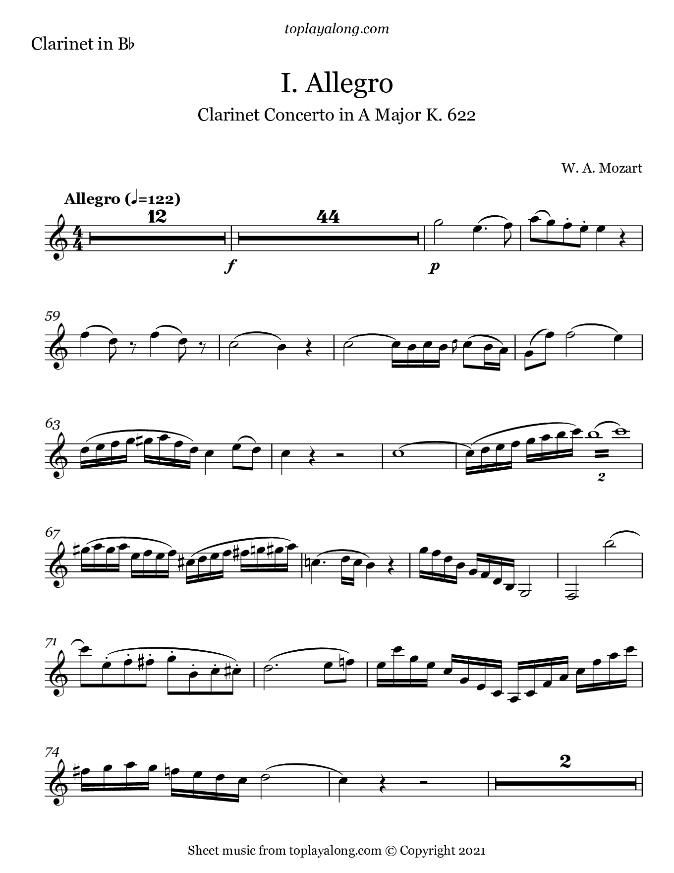 Clarinet Concerto in A Major (I. Allegro) by Mozart. Sheet music for Clarinet, page 1.